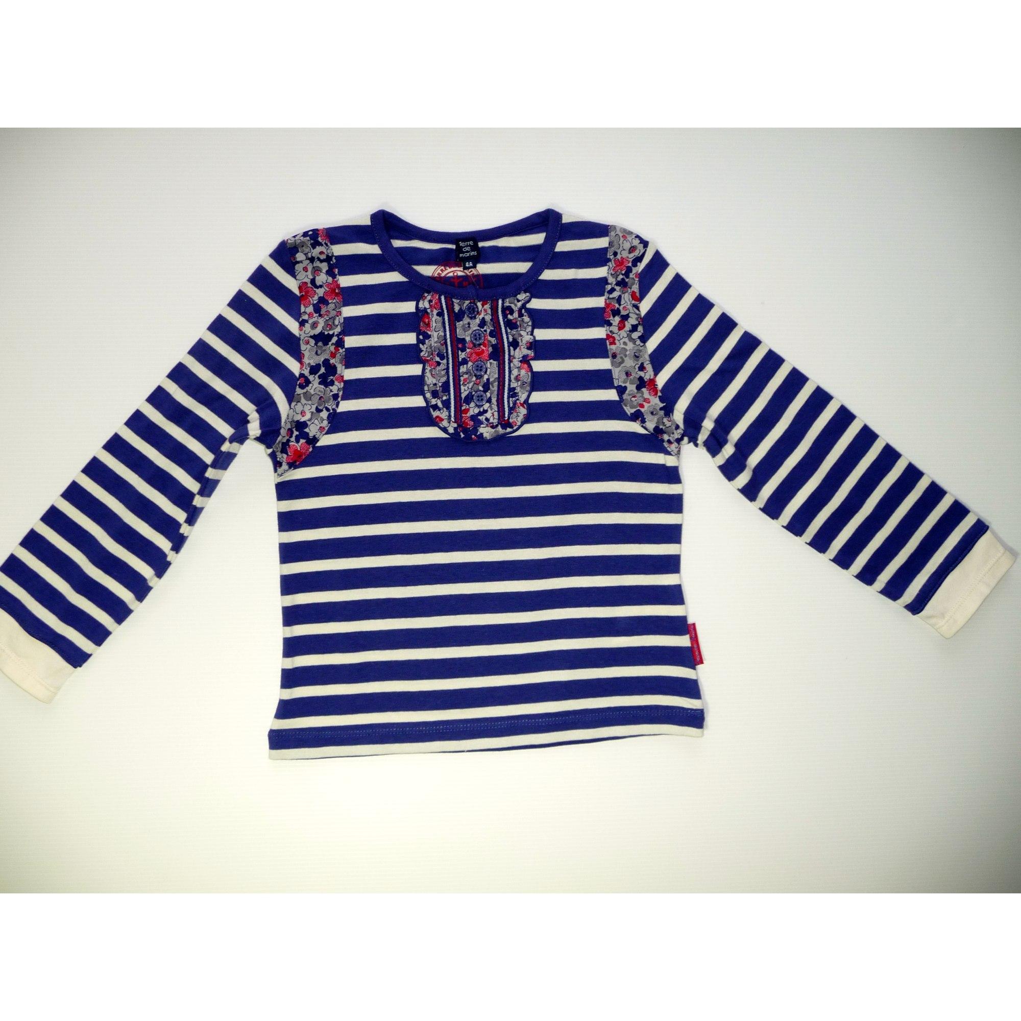 Top, Tee-shirt TERRE DE MARINS coton bleu 3-4 ans