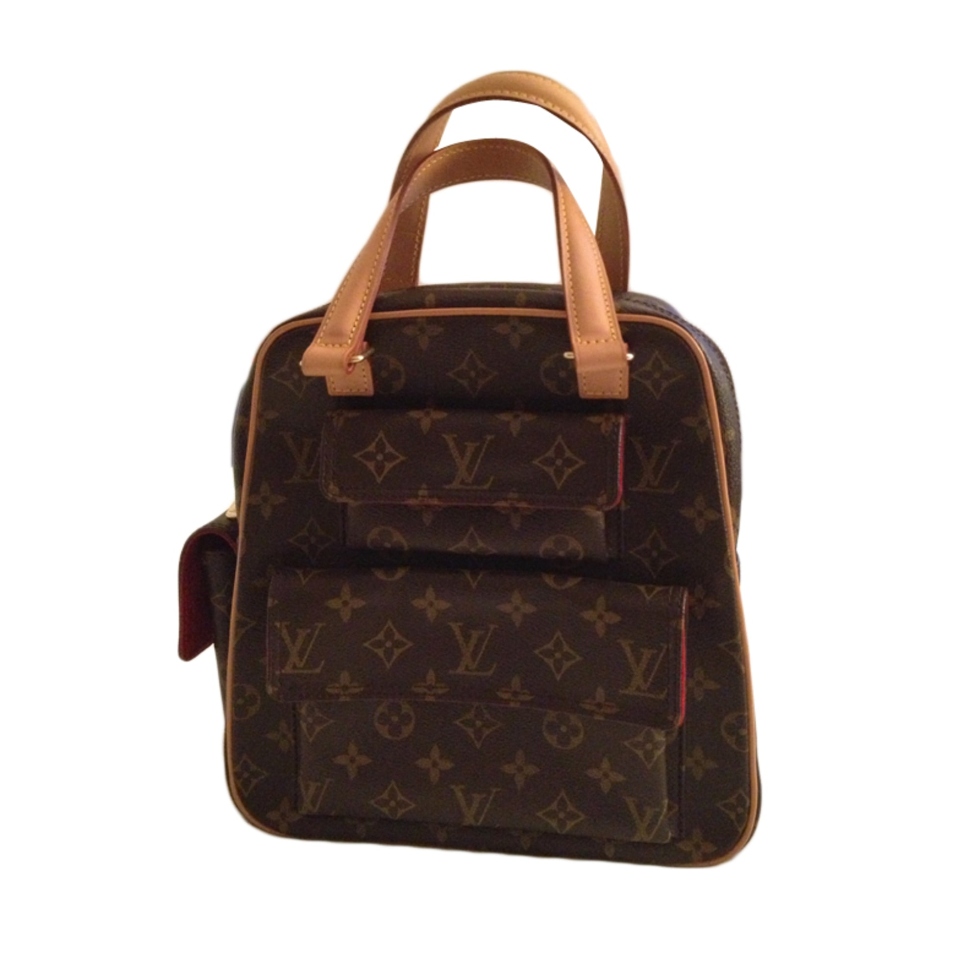 sac à main en cuir louis vuitton monogram/interieur alcantara rouge