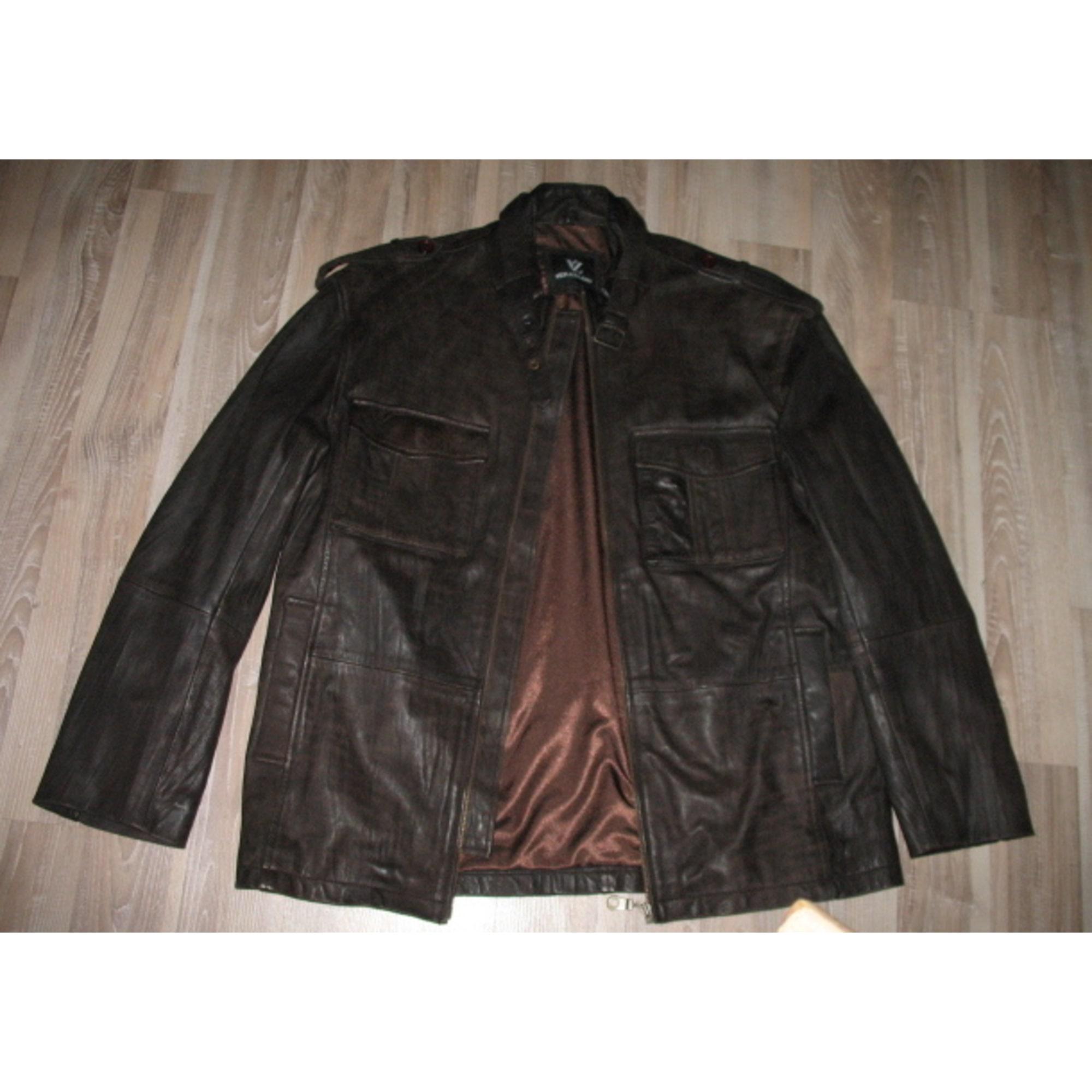 Belle veste en cuir marron taille XL