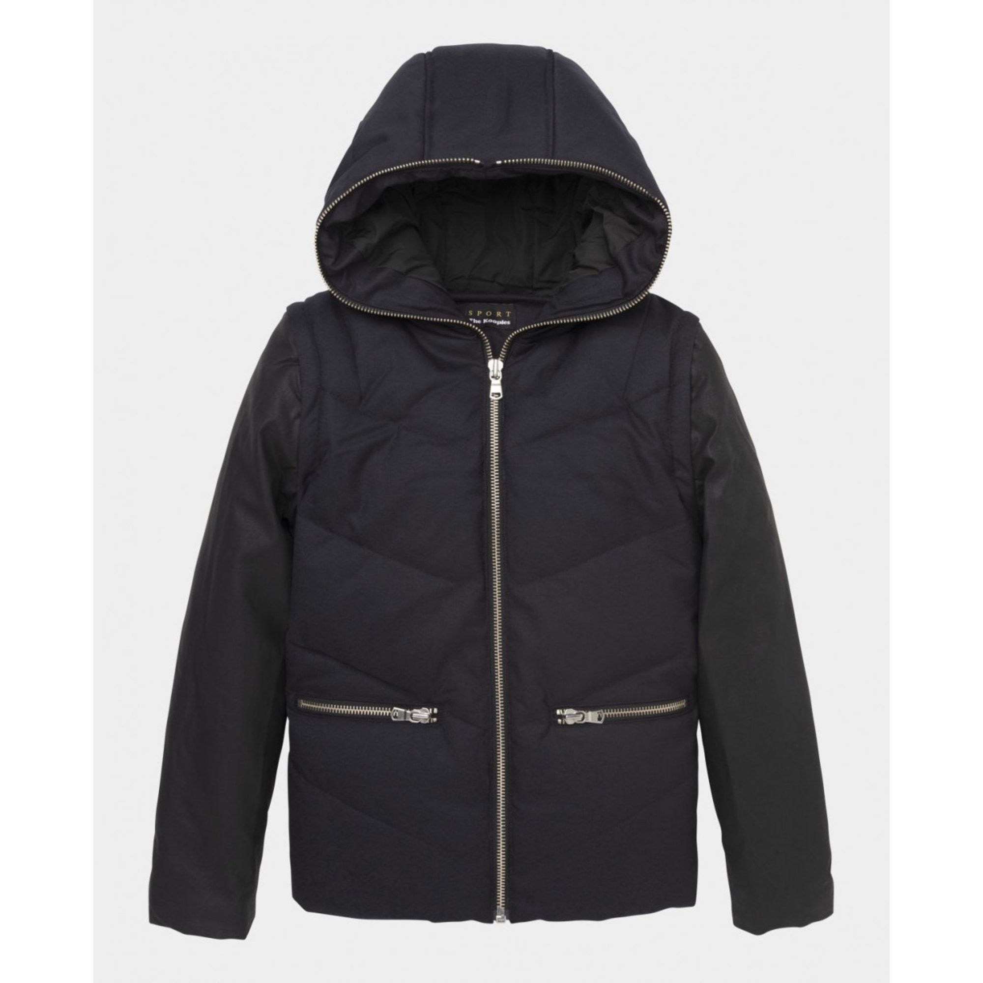 manteau the kooples manches en cuir