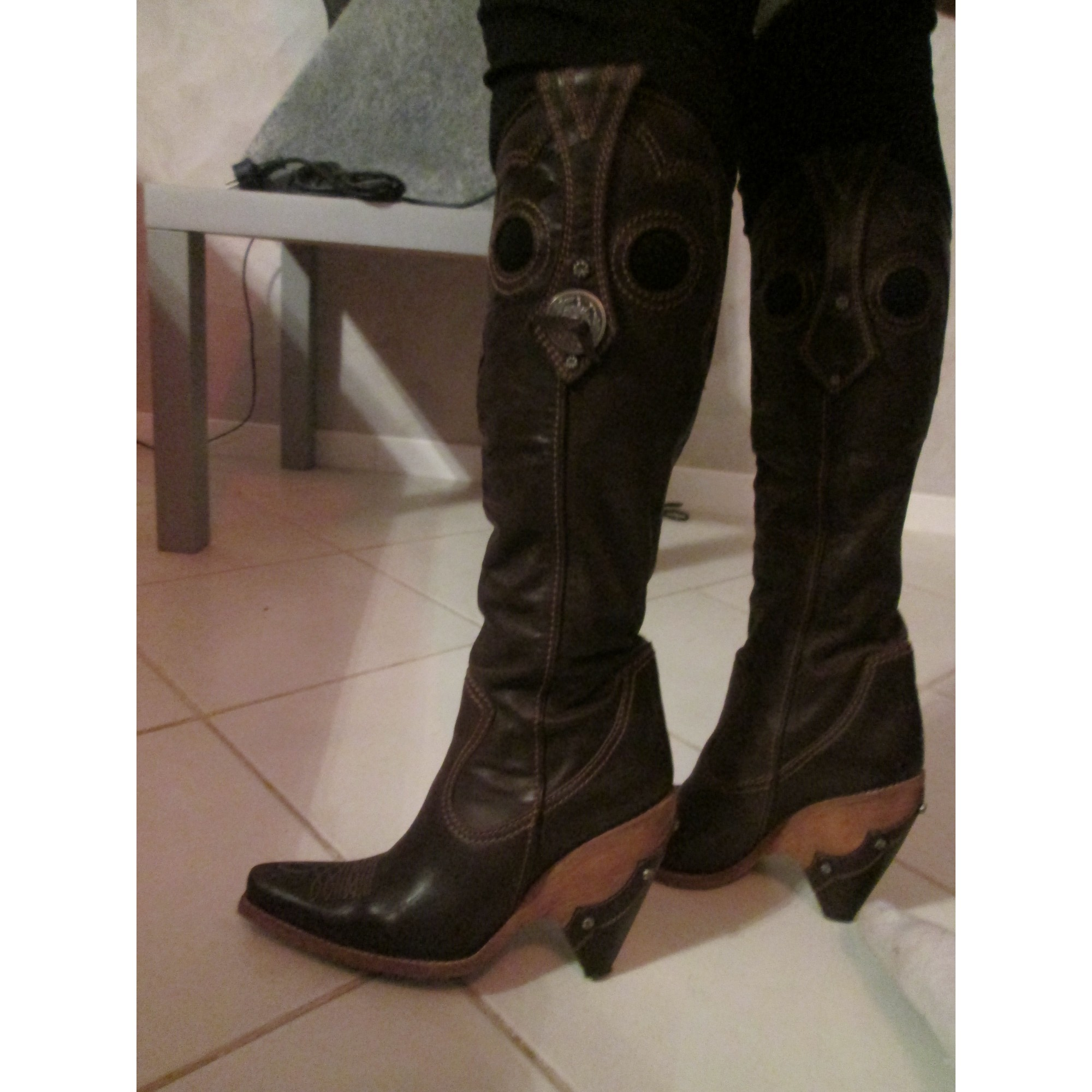 Santiags, bottes cowboy DIOR Marron