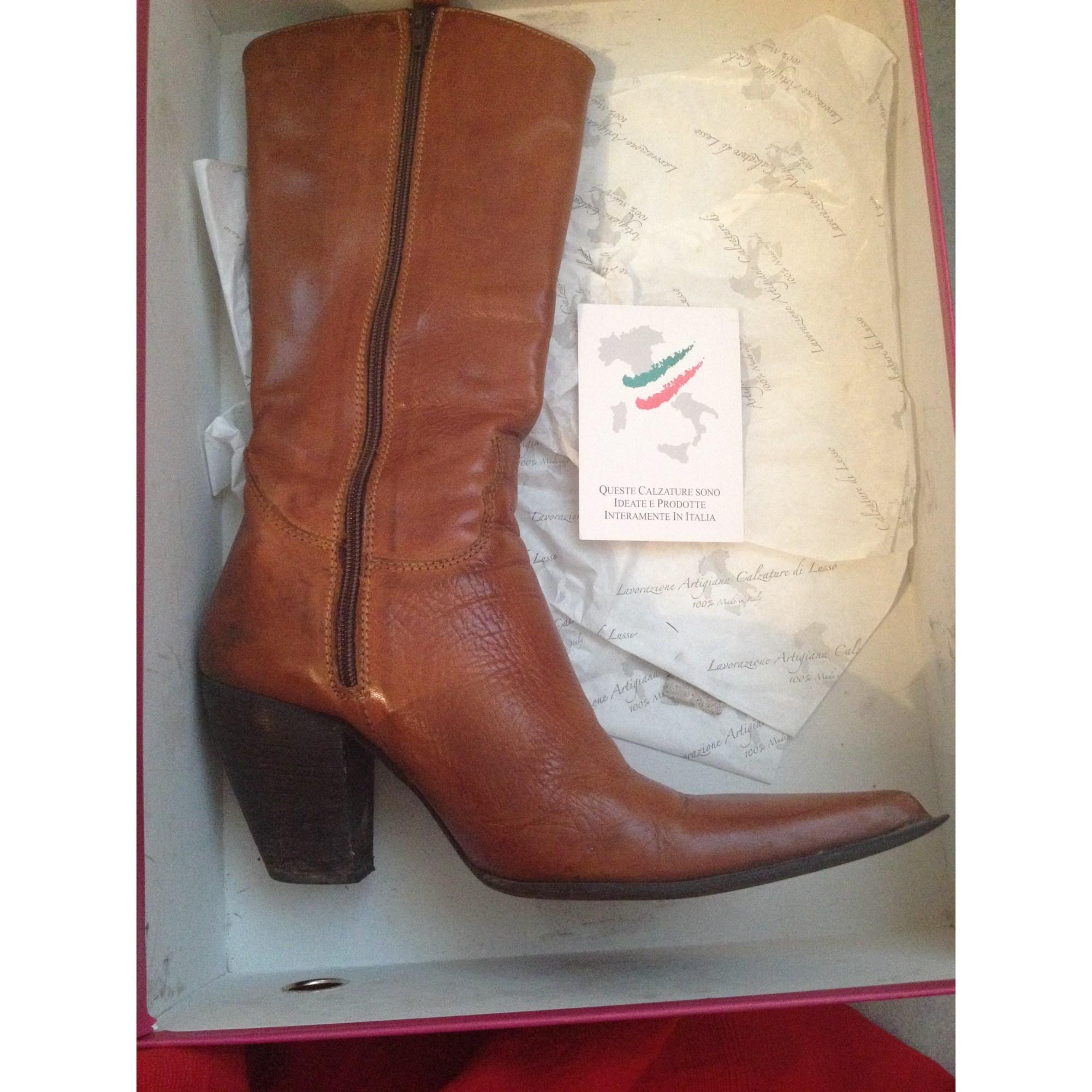 Santiags, bottes cowboy SAN MARINA Cognac
