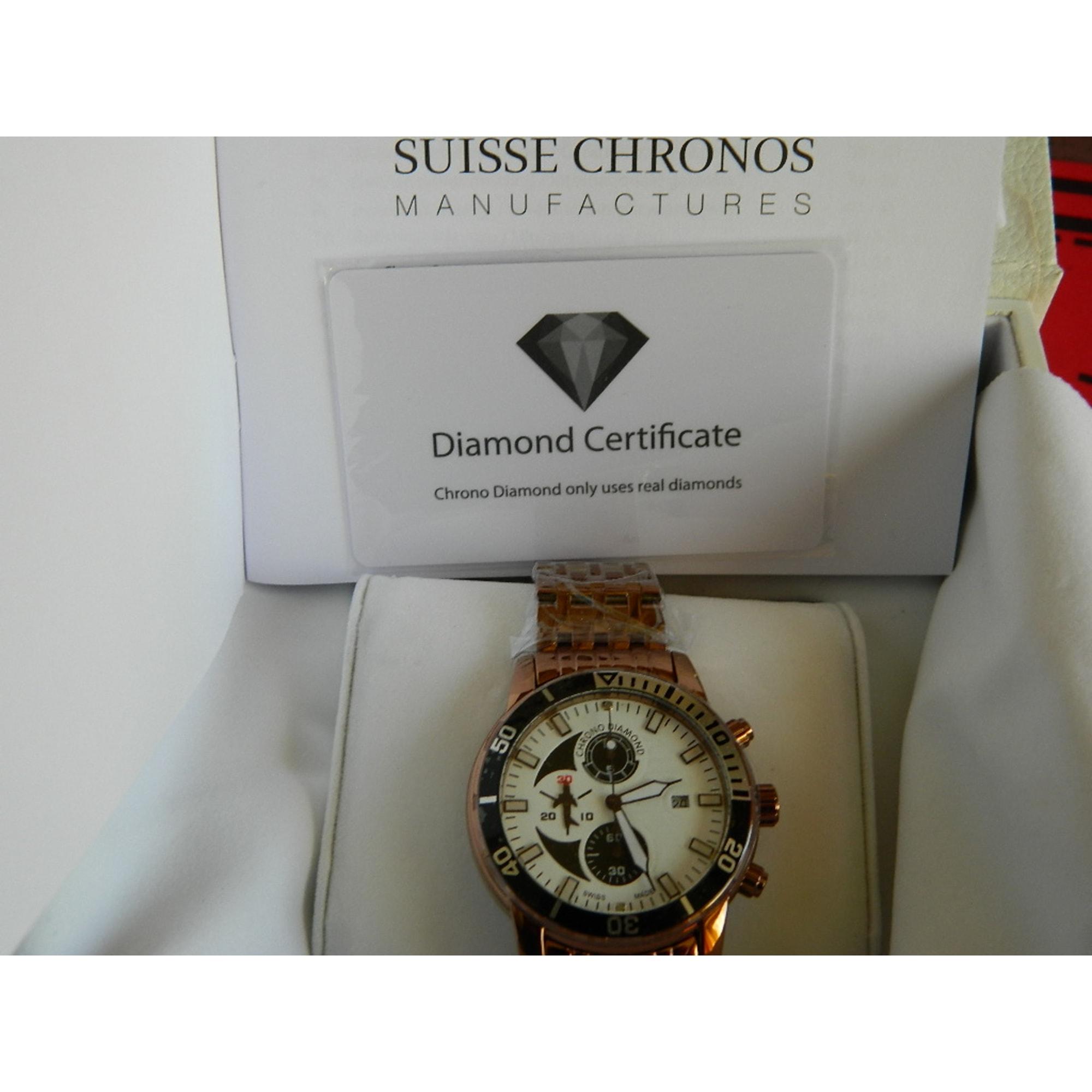 Montre au poignet CHRONO-DIAMOND (SWISS) jaune vendu par ... b9f33a8dde5