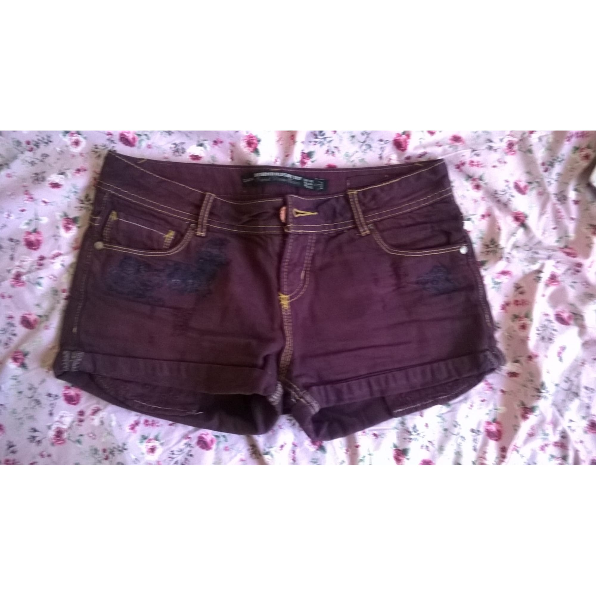 Short en jean ZARA Violet, mauve, lavande