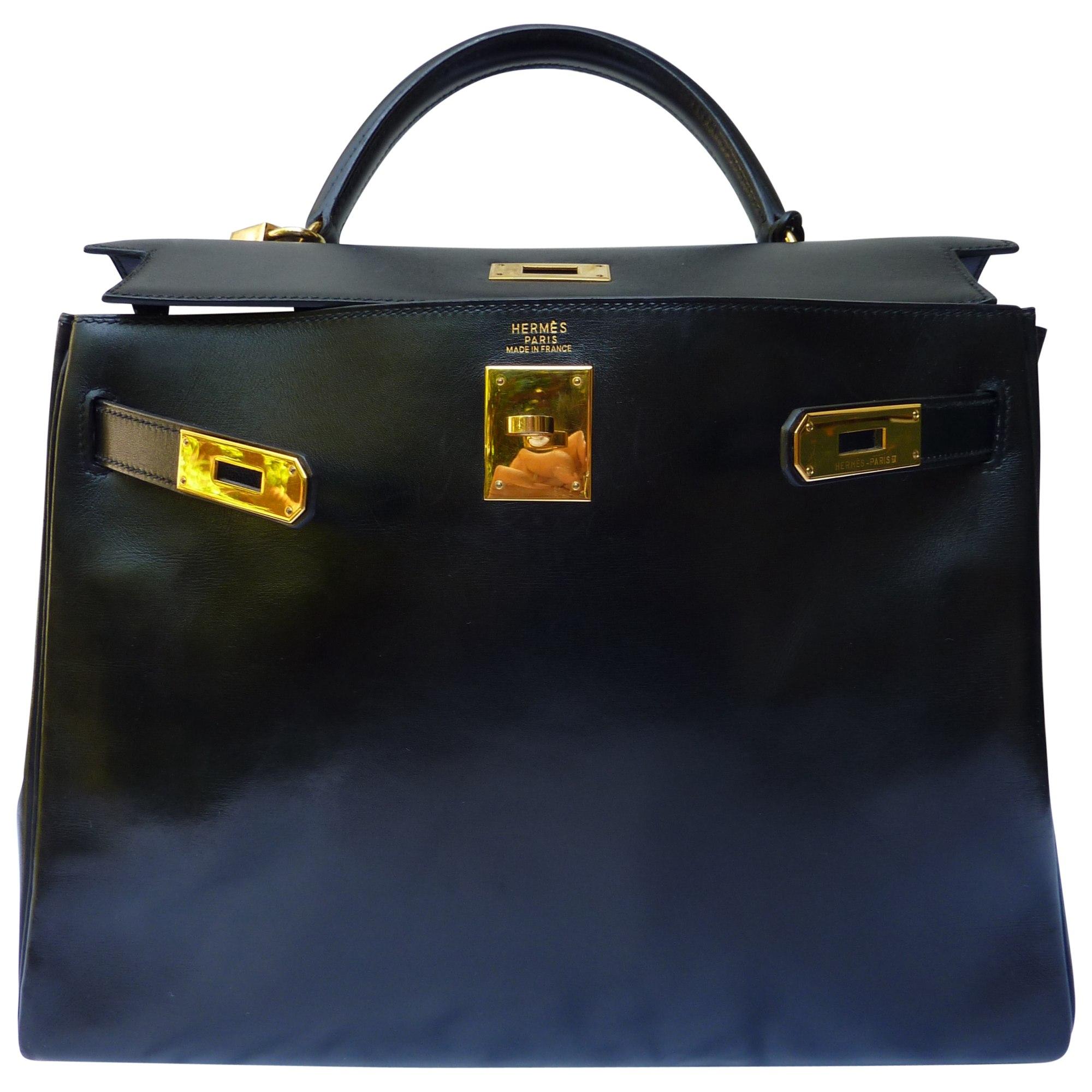 Sac à main en cuir HERMÈS kelly noir vendu par Condensa - 3596654 e53820ee71f
