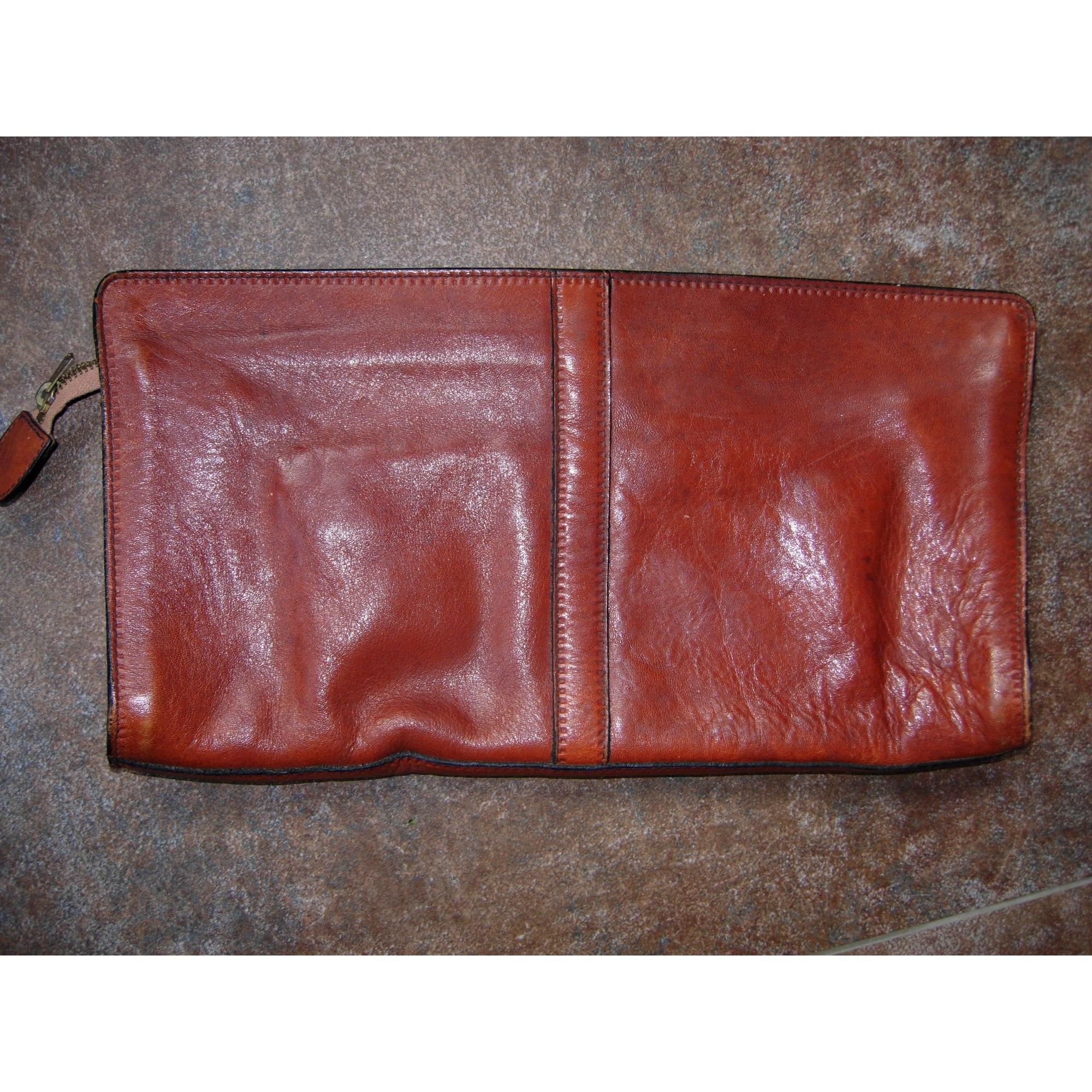 Pochette MANFIELD cuir marron