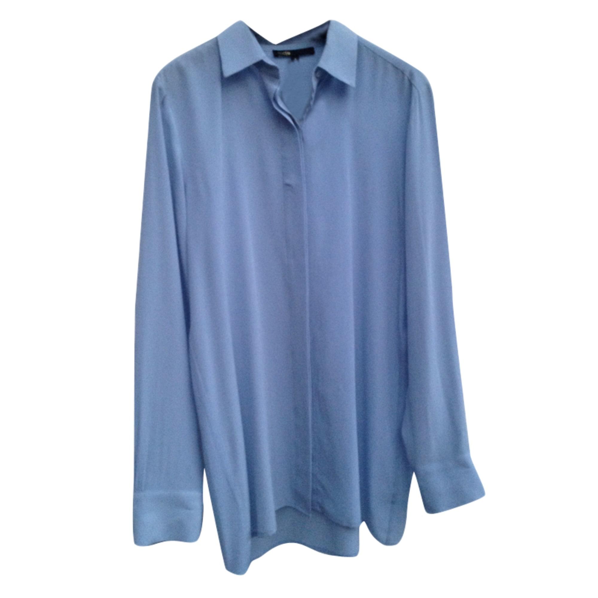 chemise soie bleu marine maje
