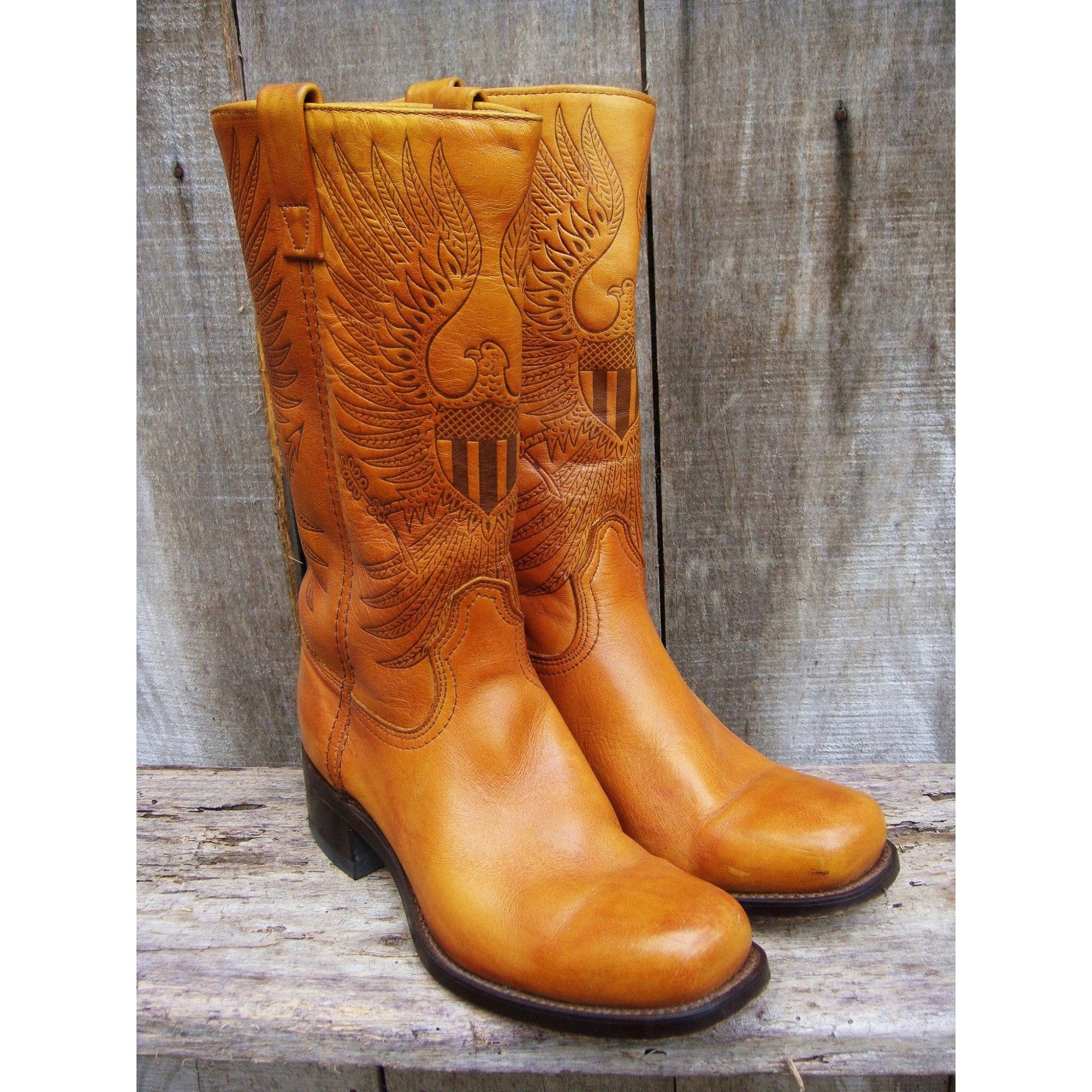 Santiags, bottes cowboy ACME Orange