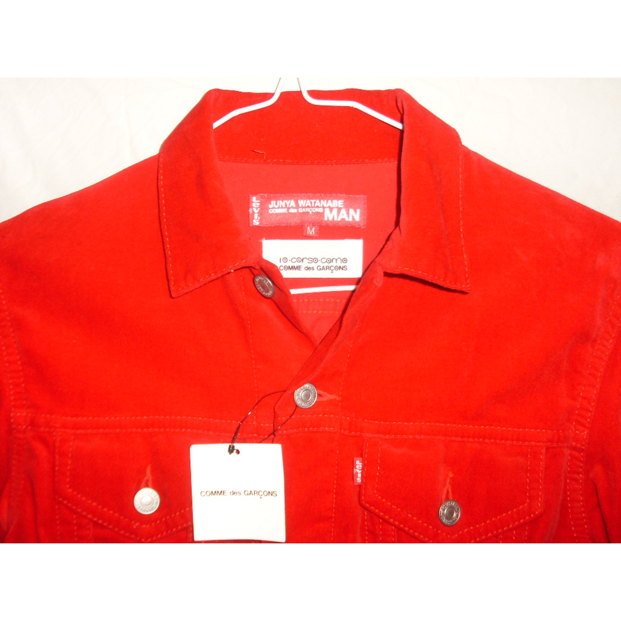 veste en jean comme des garcons 46 s rouge vendu par. Black Bedroom Furniture Sets. Home Design Ideas