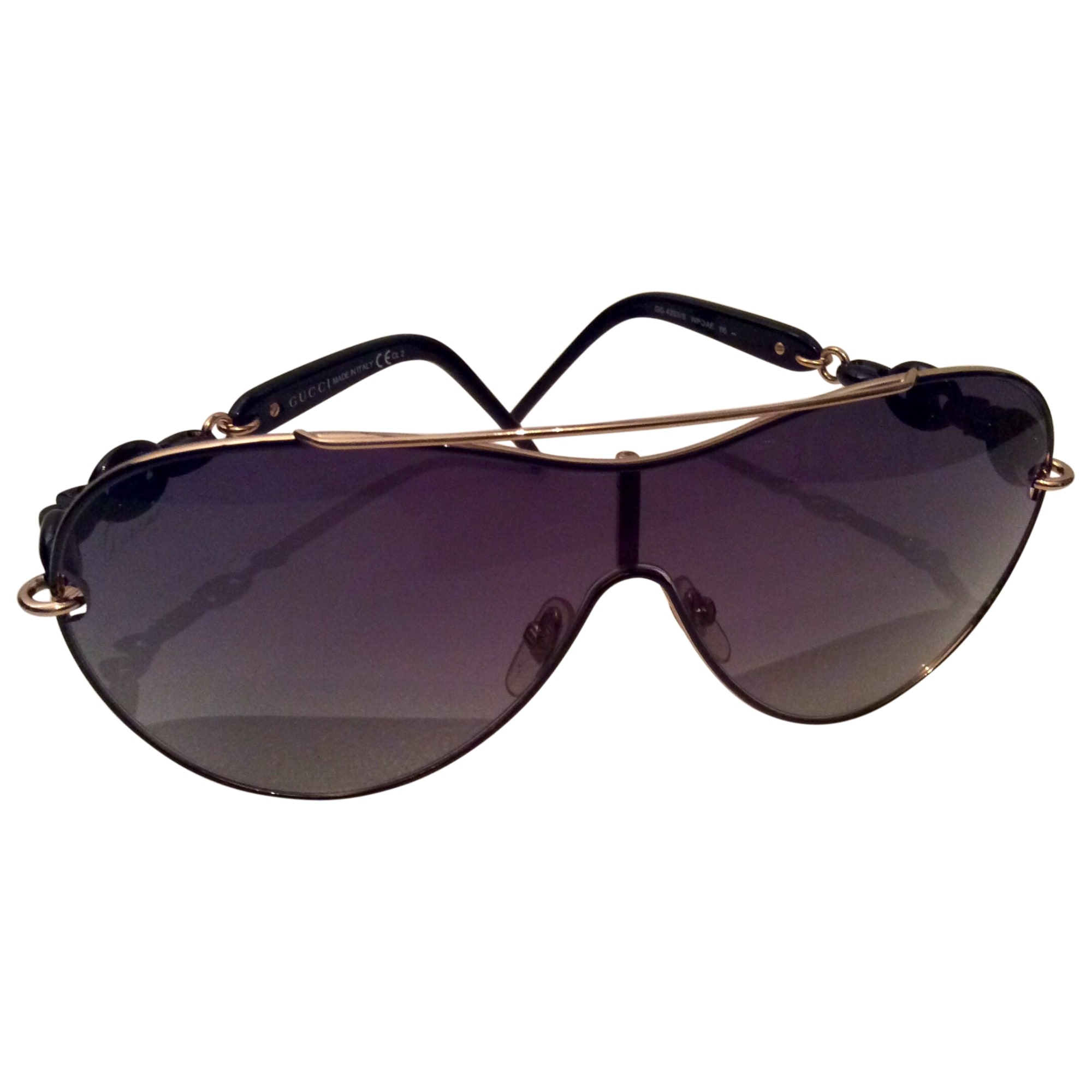 Lunettes de soleil GUCCI Graine de café noir avec pourtour de la lunette Or 14db05e96f3a