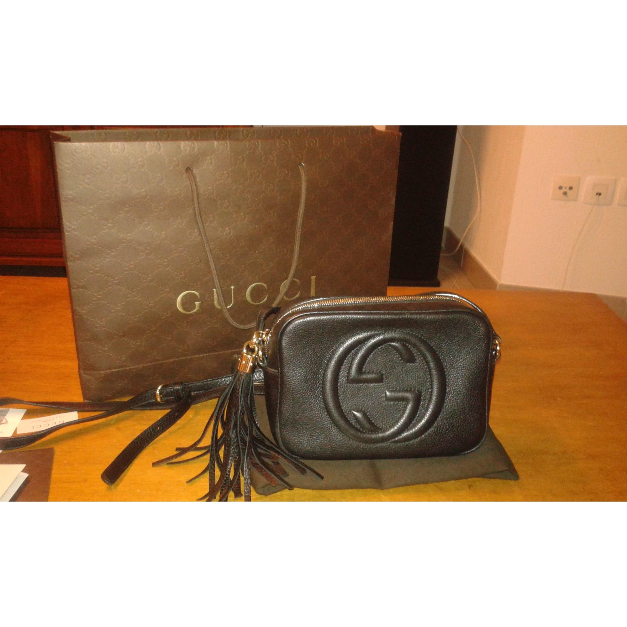 Sac en bandoulière en cuir GUCCI soho noir vendu par Moumi140428 ... a08d6359ab1