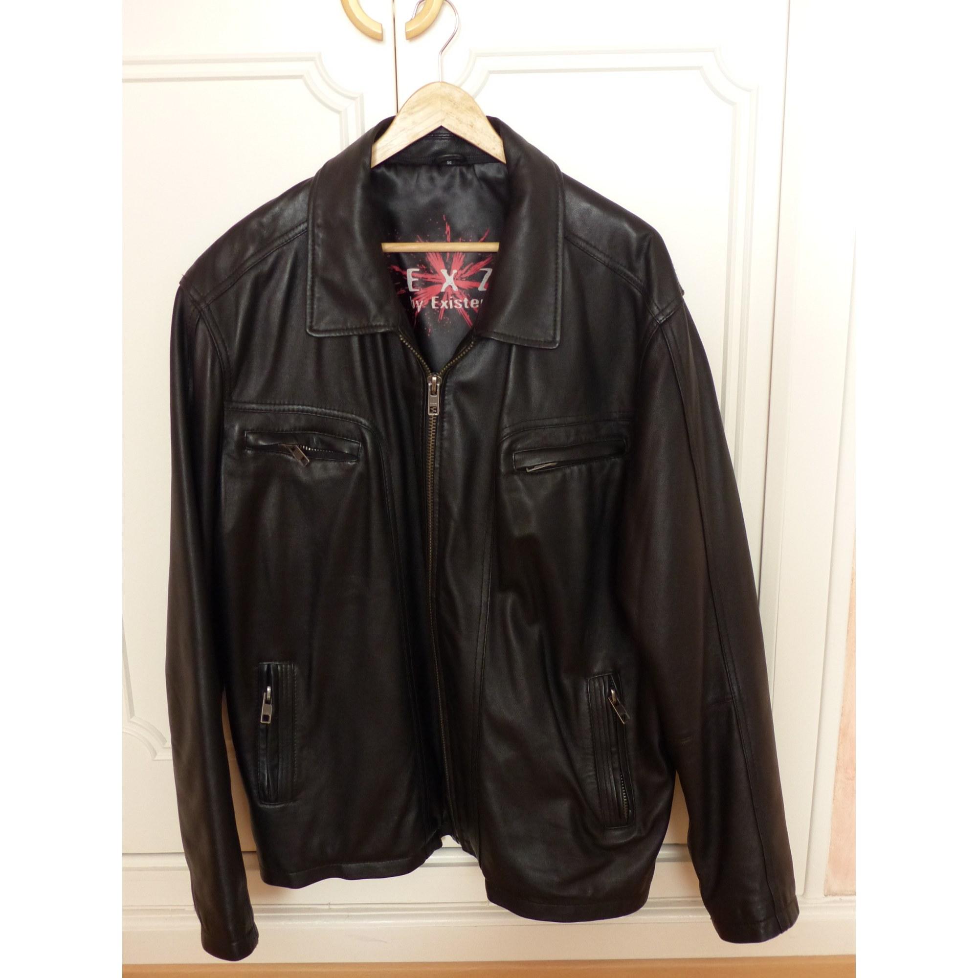 06dcb7294ffdc Blouson en cuir EXZ BY EXISTENZ 56 (XL) noir vendu par Clemence5254 ...