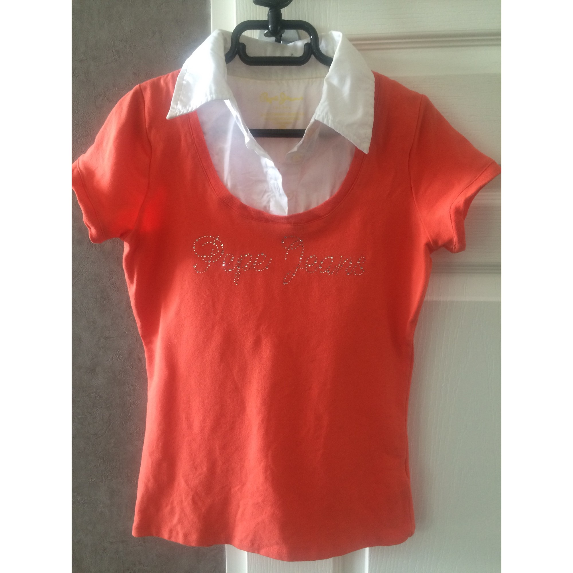Top, Tee-shirt PEPE JEANS coton orange 13-14 ans