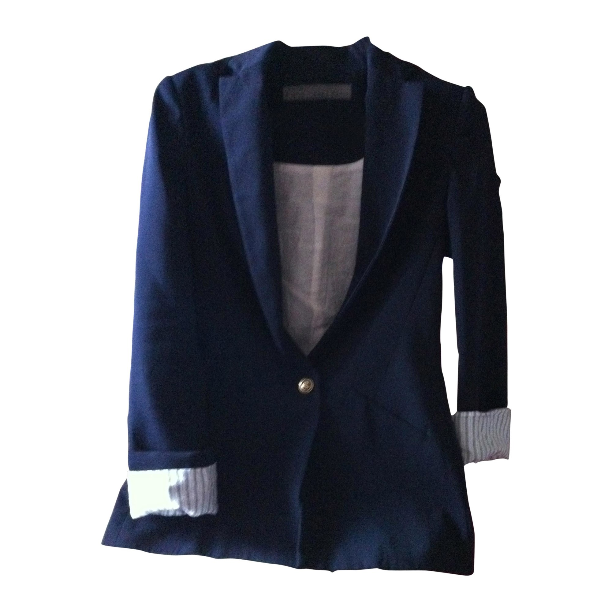 blazer veste tailleur zara 34 xs t0 bleu 410002. Black Bedroom Furniture Sets. Home Design Ideas