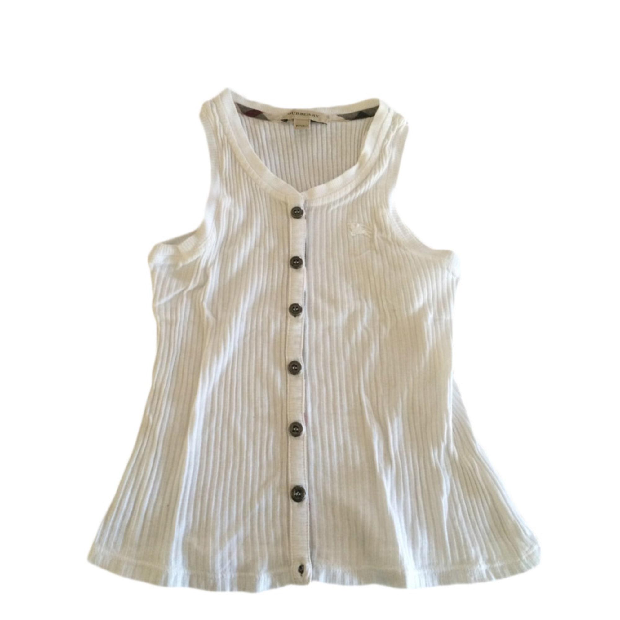 Top, T-shirt BURBERRY Bianco, bianco sporco, ecru