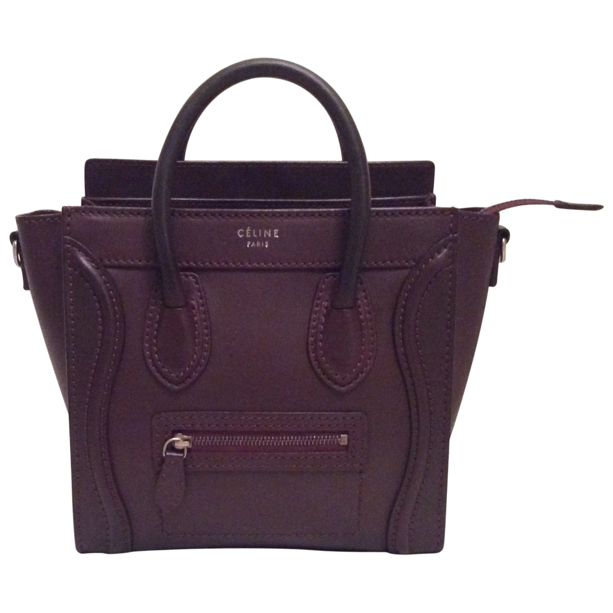 Luggage Cuir Rouge À Céline En Main Nano Sac Bordeaux 1vqzP1
