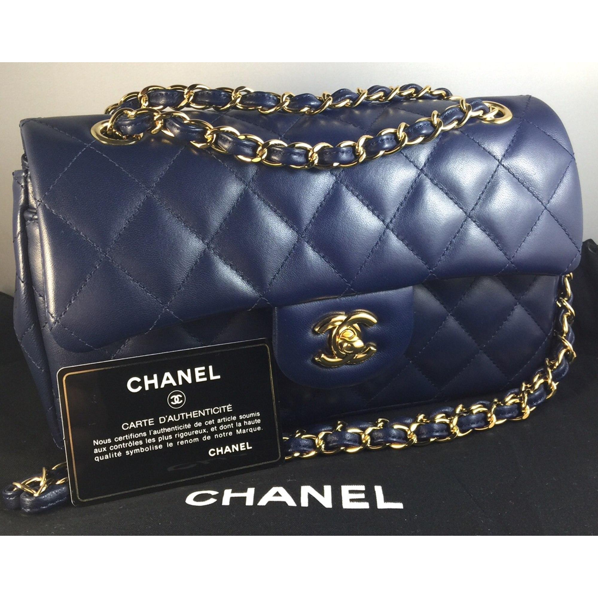 e58e4a85ec Sac à main en cuir CHANEL Bleu, bleu marine, bleu turquoise