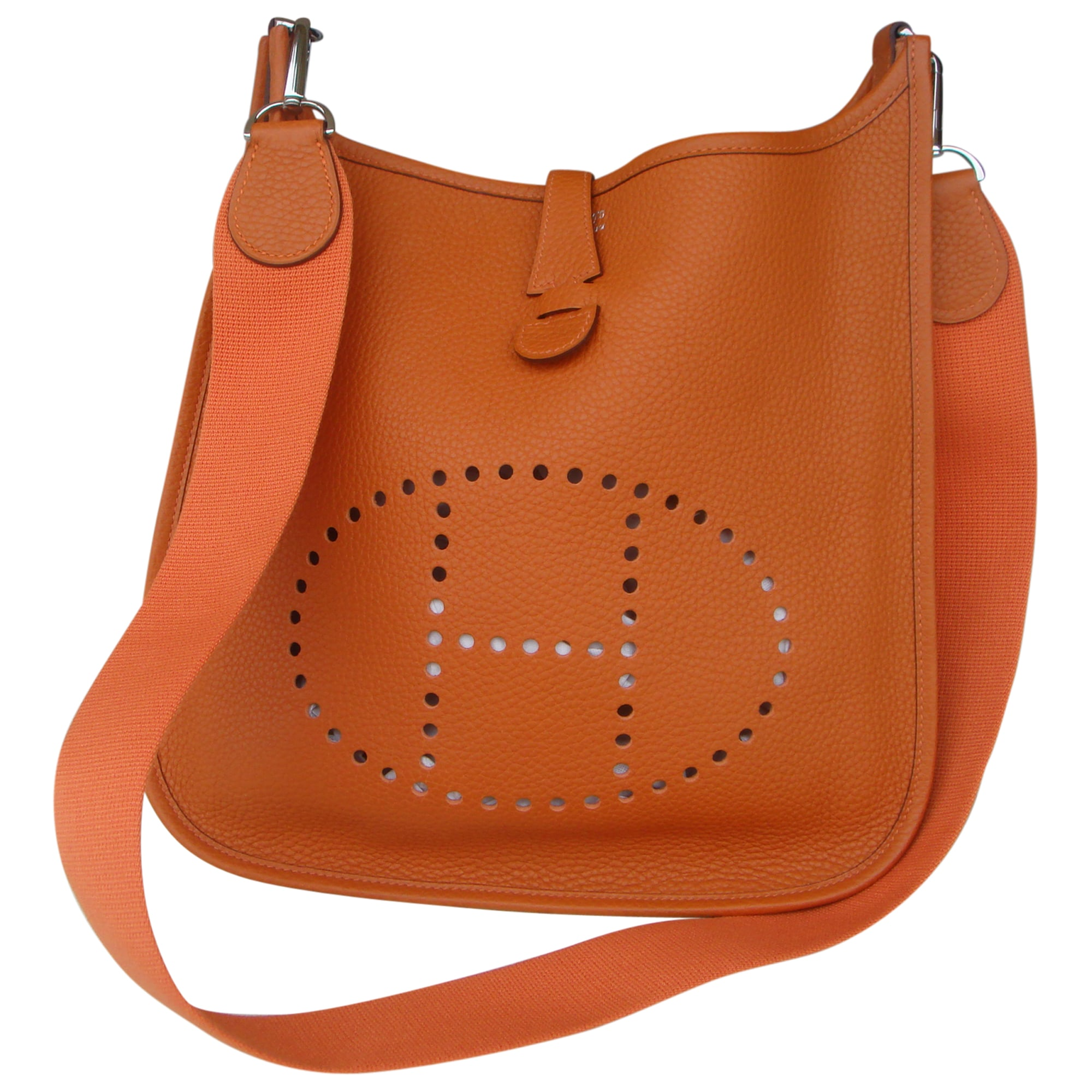 41c465b683 Sac en bandoulière en cuir HERMÈS evelyne orange vendu par Le vide ...