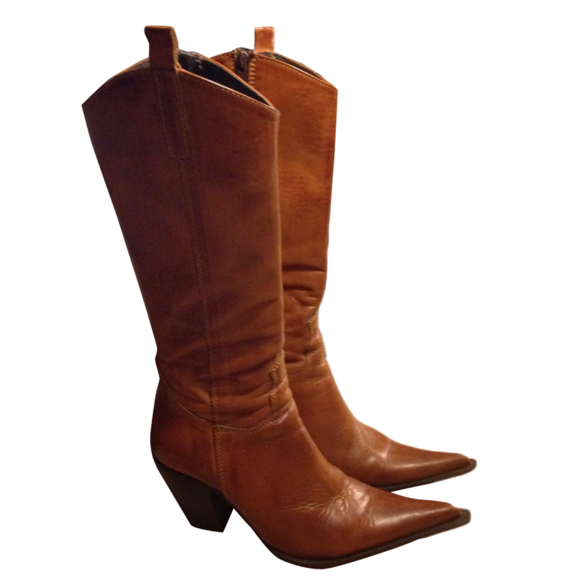 Santiags, bottes cowboy SAN MARINA Beige, camel
