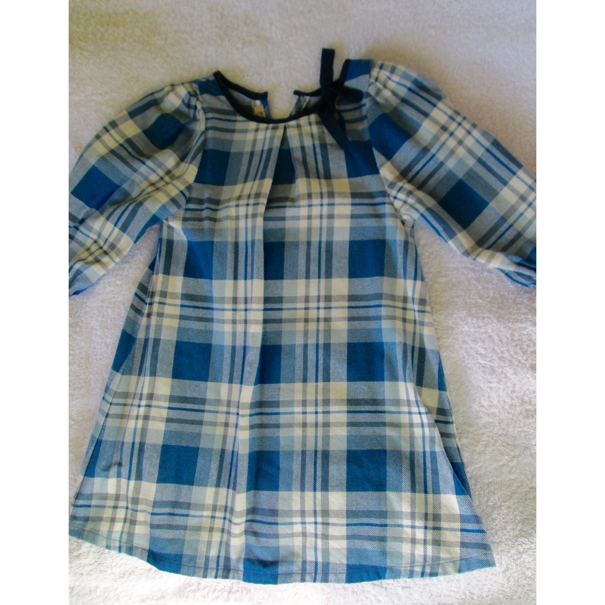 Robe QUATRE HEURES coton bleu 2 ans