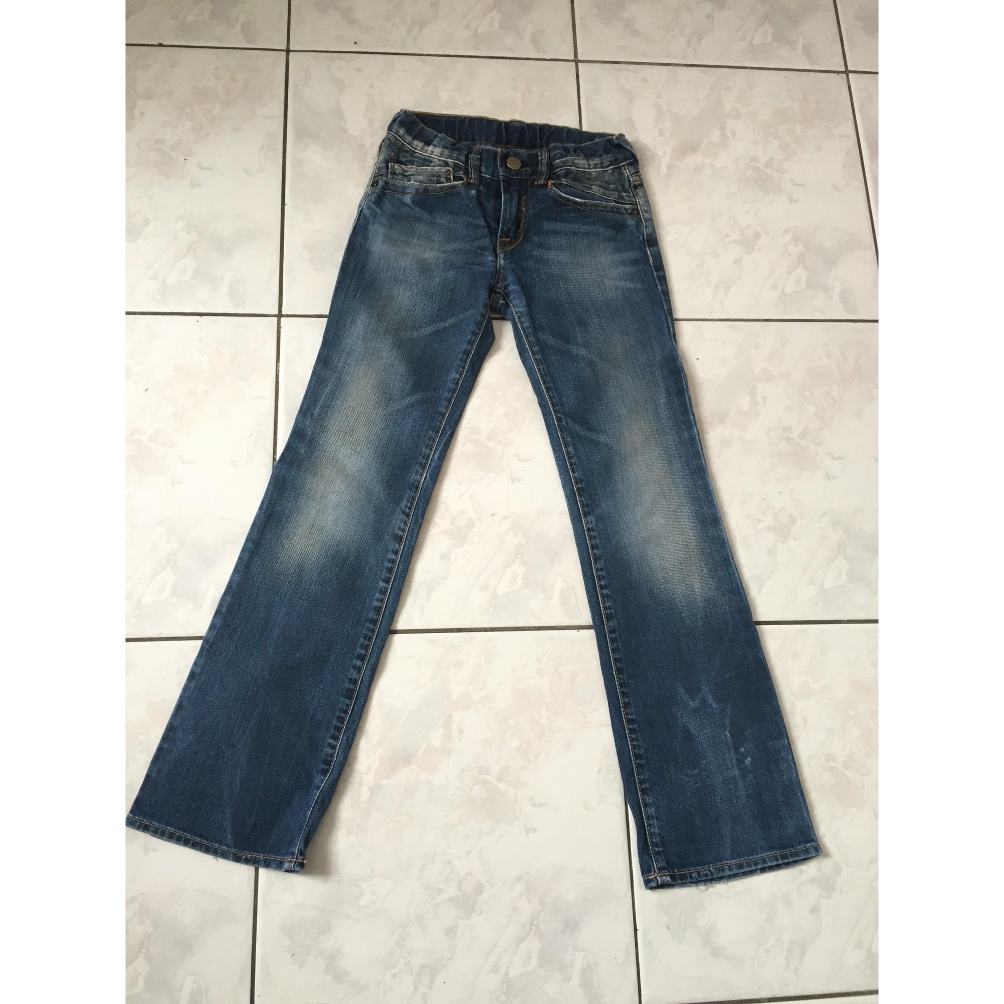 Jeans droit LE TEMPS DES CERISES coton bleu 7-8 ans