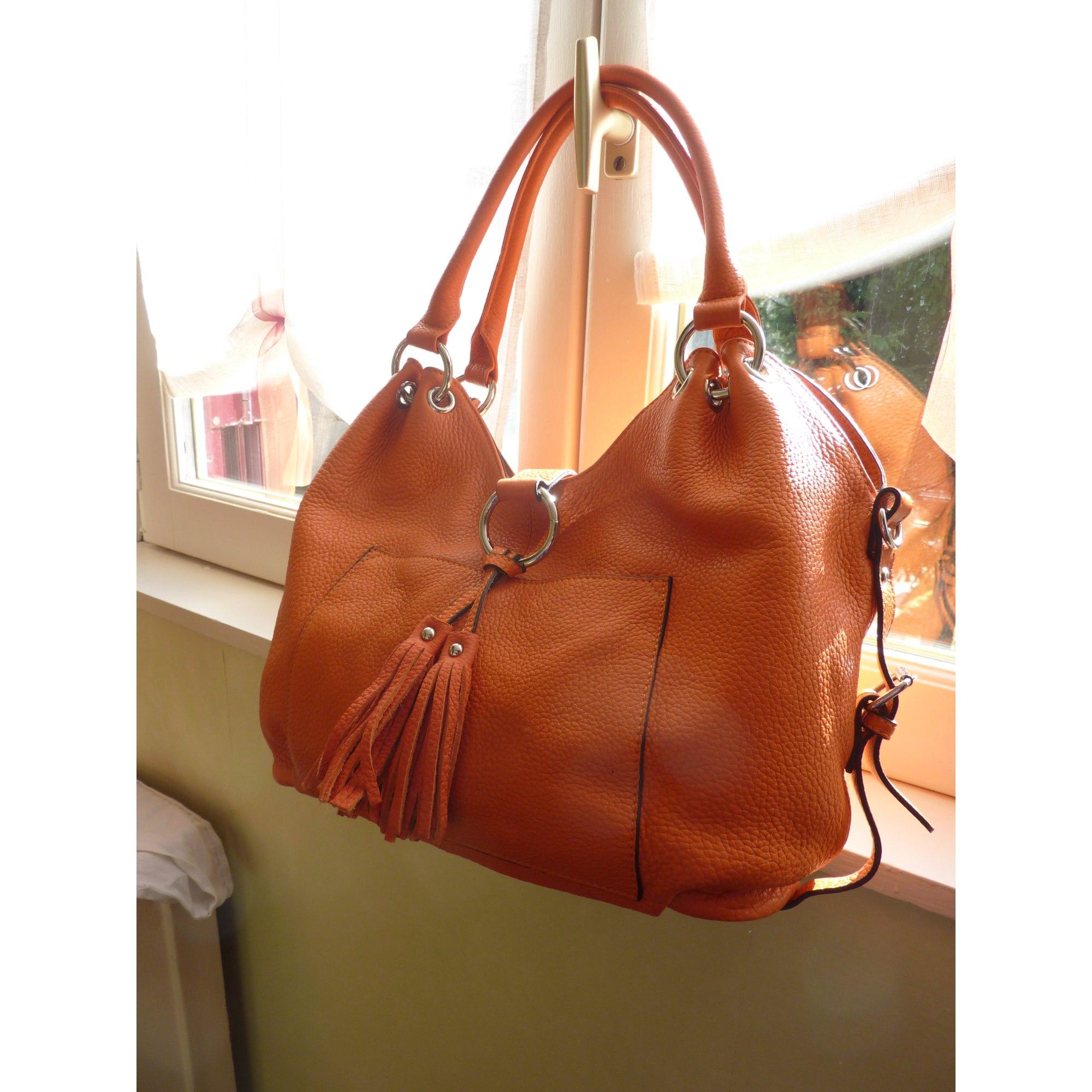 90d59bd82a Sac à main en cuir CUIR CHAPELLE orange vendu par Brocamateur - 4809148