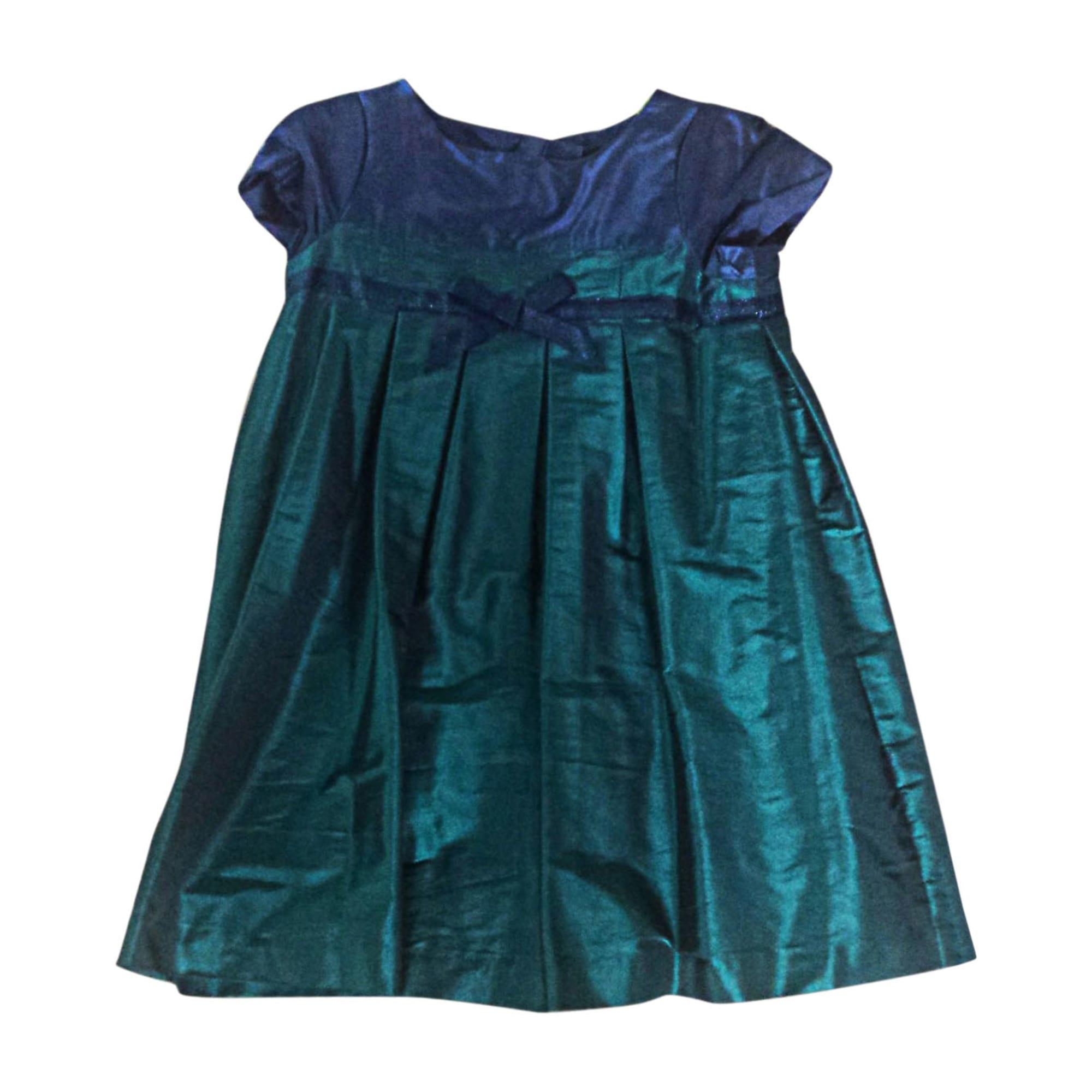 Robe JACADI vert et bleu satiné