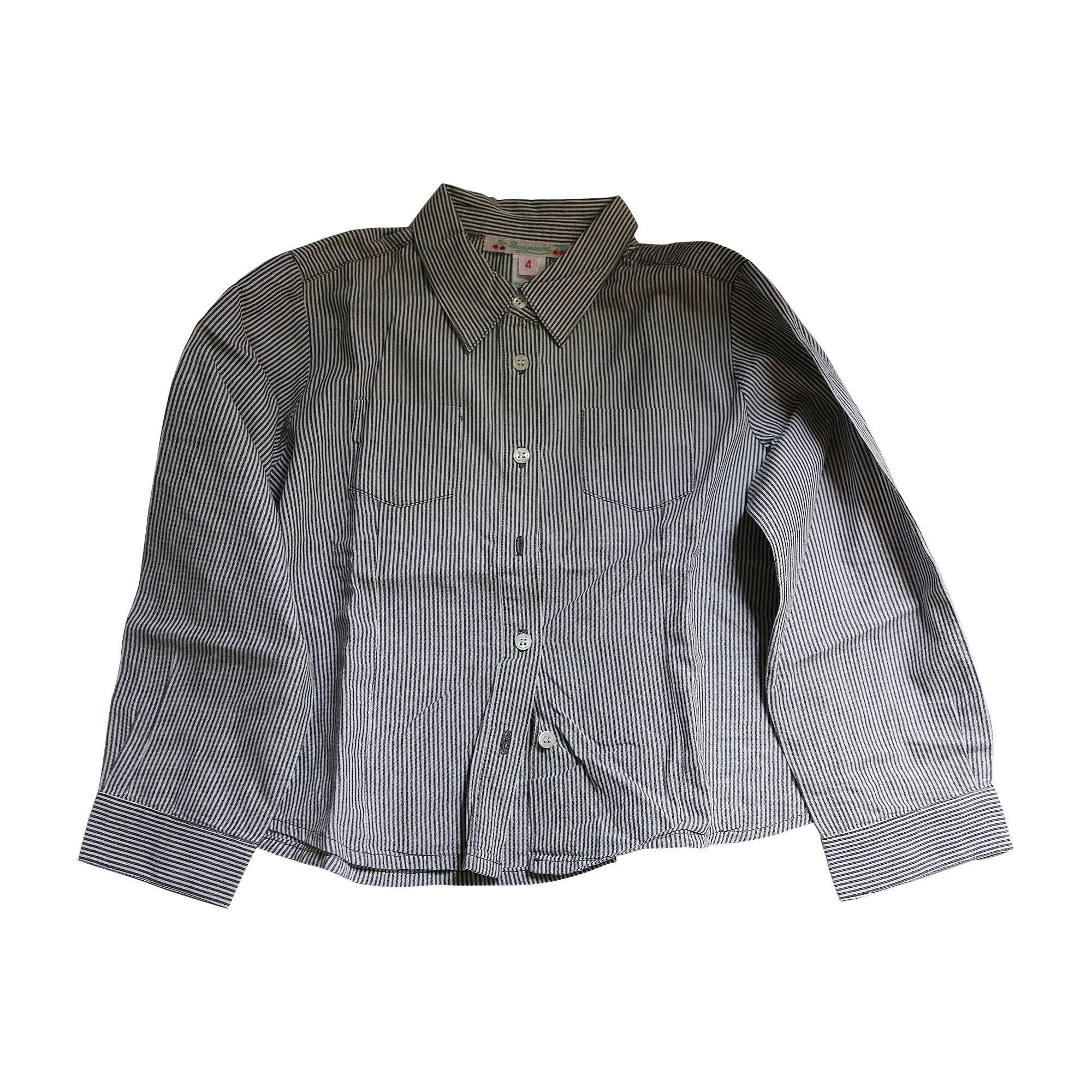 Shirt BONPOINT Rayures violet foncé et blanc