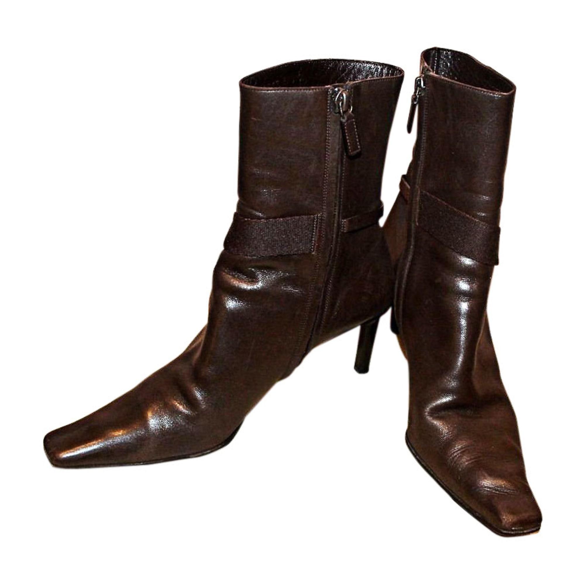 cf8fd6627ca Bottines   low boots à talons GUCCI Marron