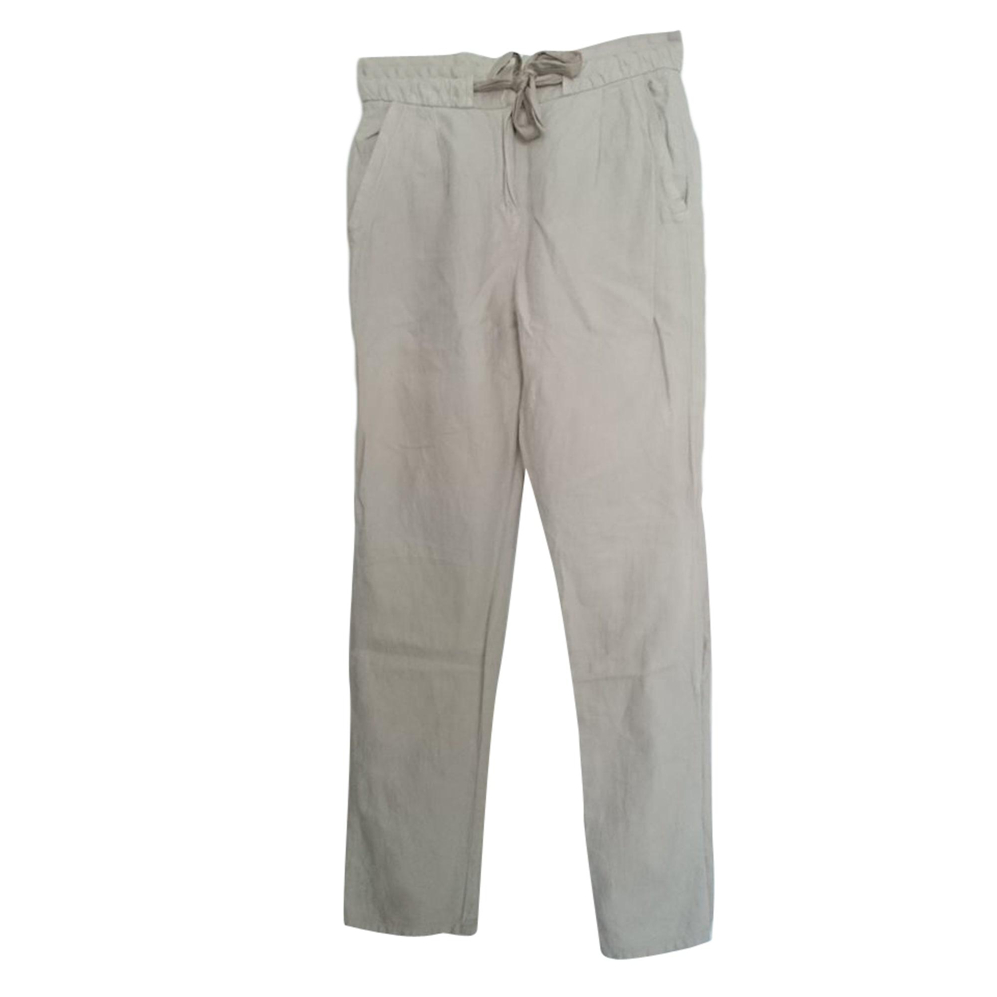 Pantalon carotte SANDRO Blanc, blanc cassé, écru