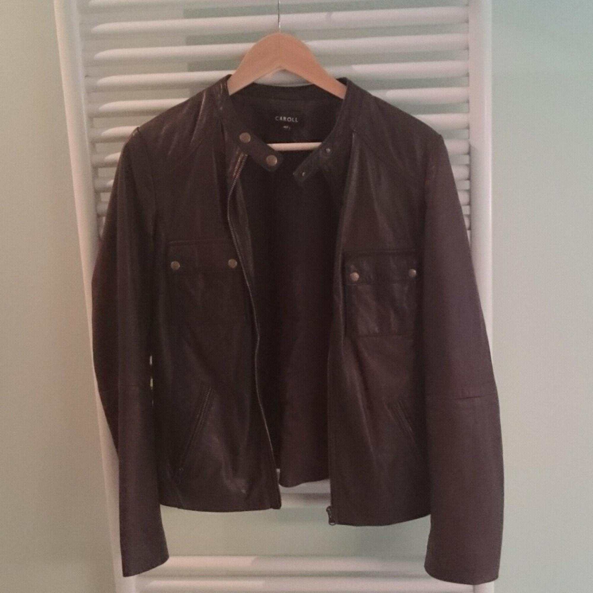 Veste en cuir CAROLL 42 (L XL, T4) marron vendu par Aubertin - 4942943 be12bdf424d