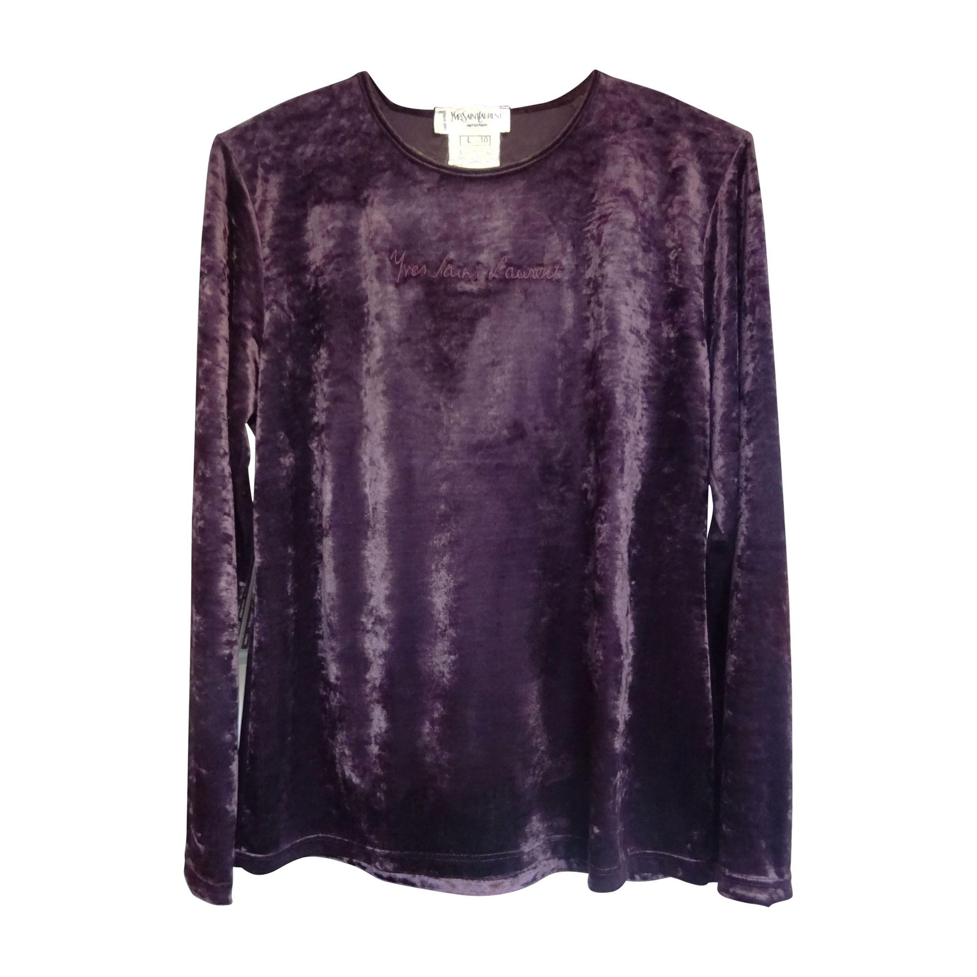 top tee shirt yves saint laurent 40 l t3 violet 5001808. Black Bedroom Furniture Sets. Home Design Ideas