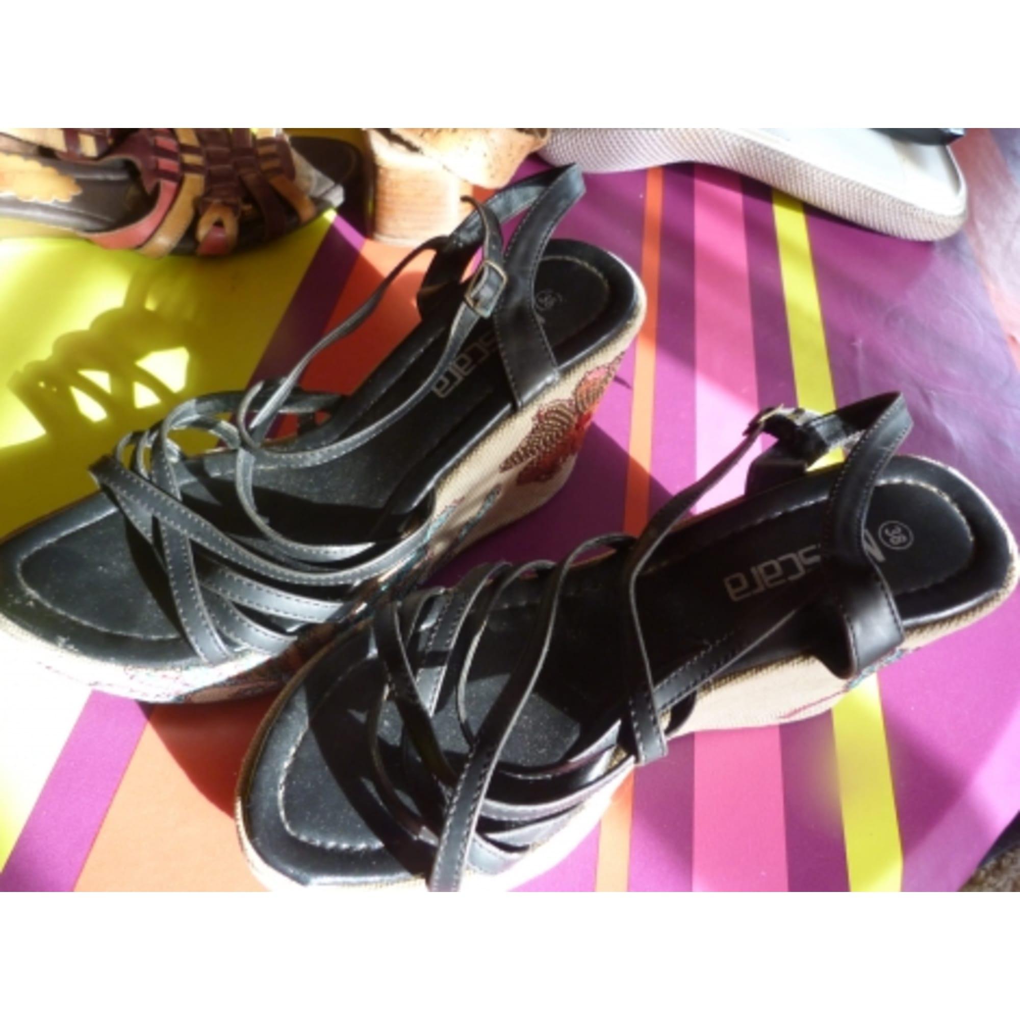 Sandales Fleuri Beige Noir Mascara 38 5098438 Compensées hQtdCrs