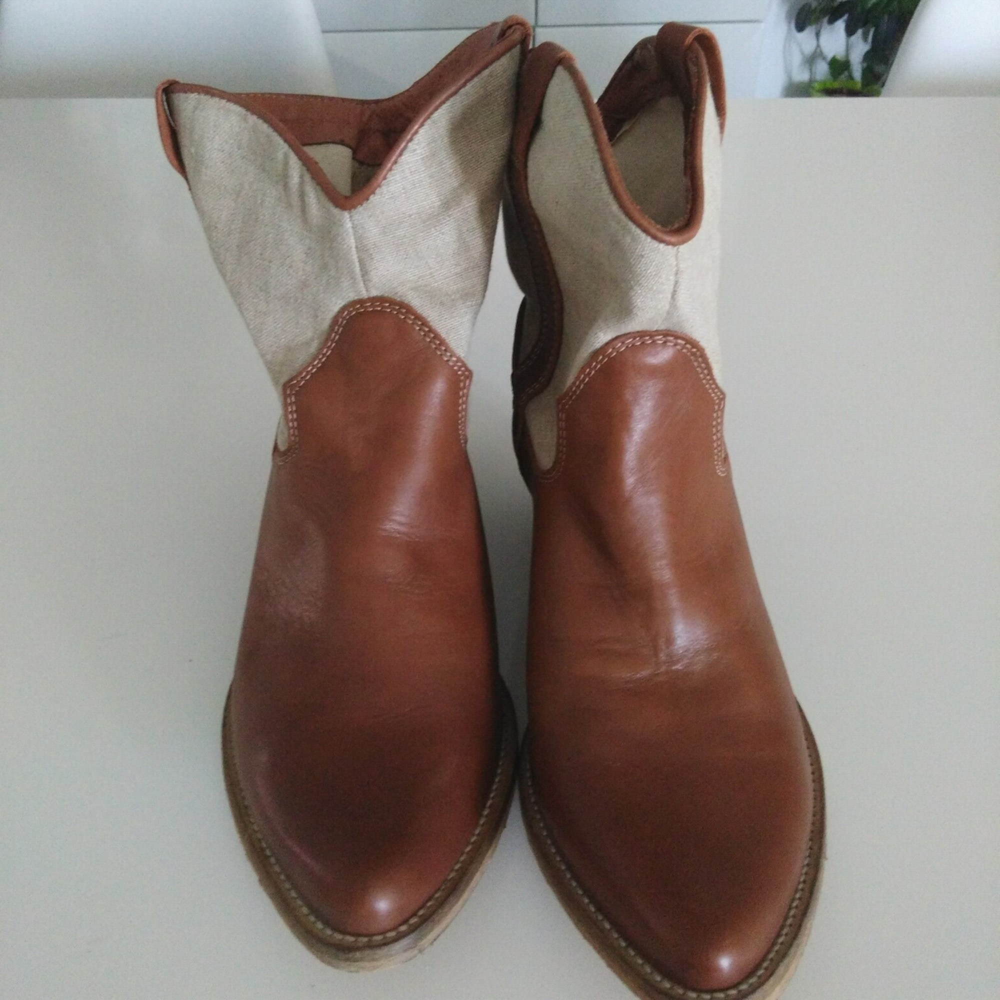 5157134 Santiags bottines 39 cowboy low ERAM boots marron R0zdr0wqx