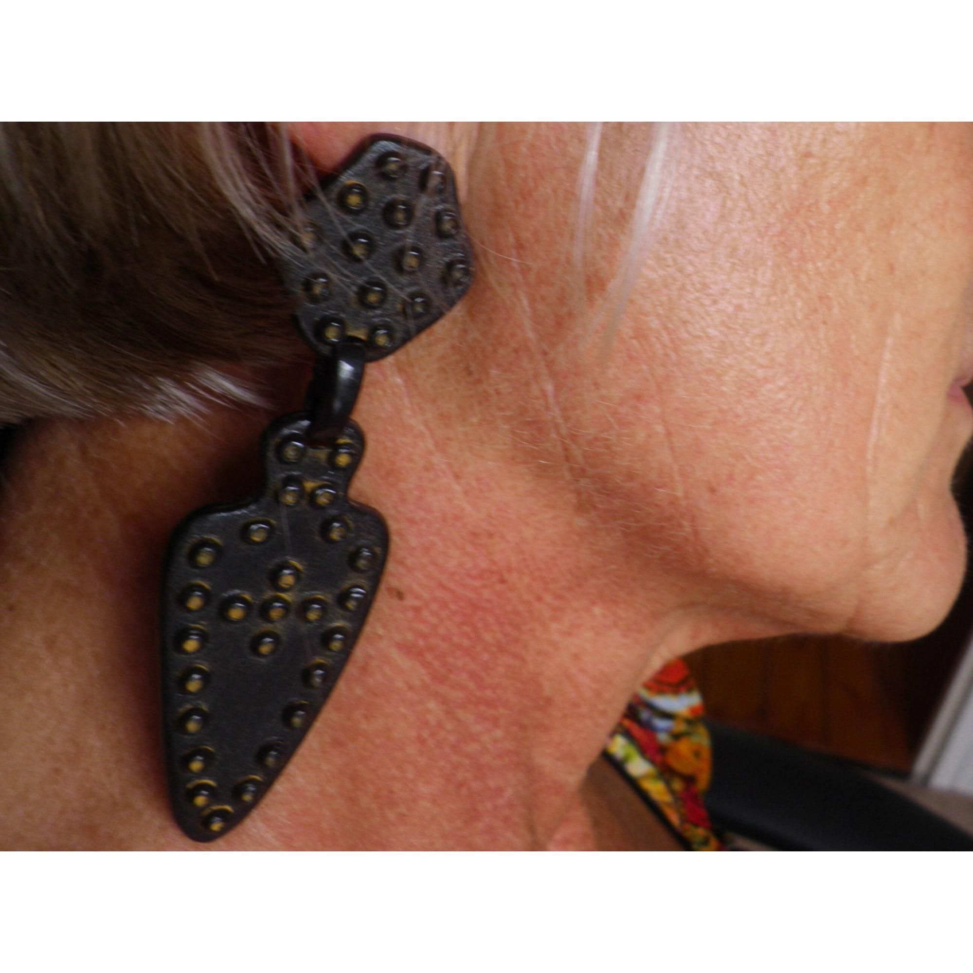 Boucles d'oreille LA TRIBU RIGAUX métal noir
