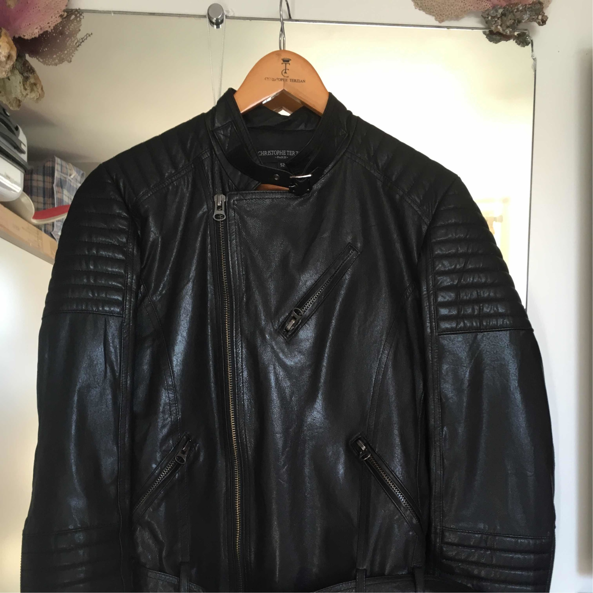 Blouson en cuir MARQUE INCONNUE 52 (L) noir - 5286690 43b718130a68