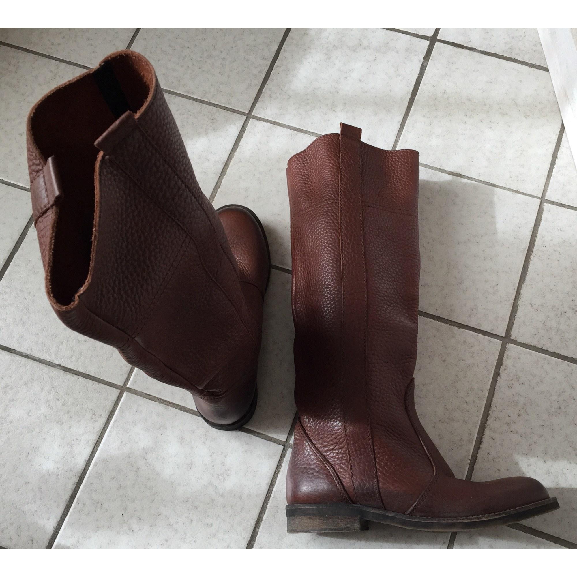 bottes cavalières cognac cuir 40