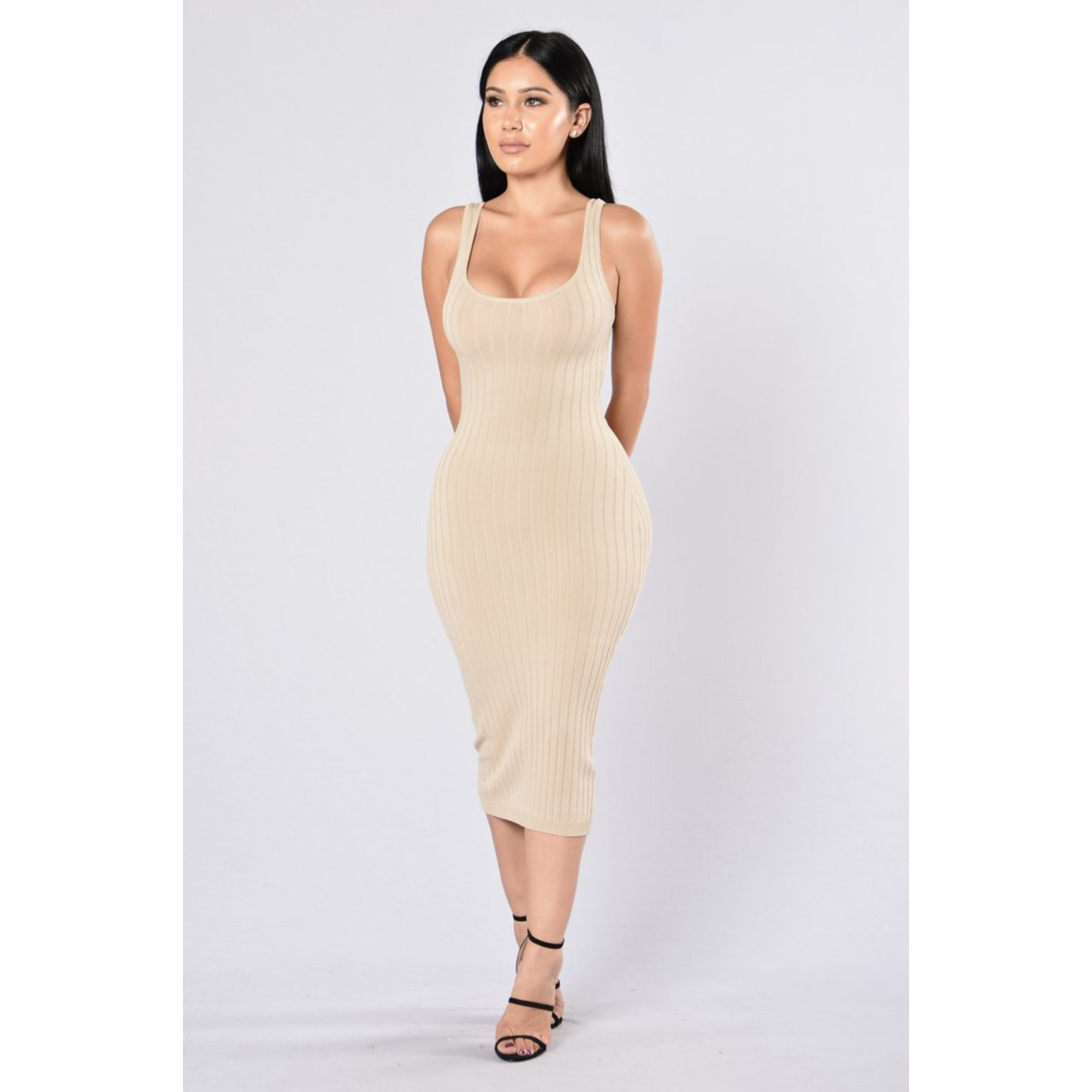 Fashion Nova Beauty Queen Maxi Dress: Maxi Dress FASHION NOVA 36 (S, T1) Beige