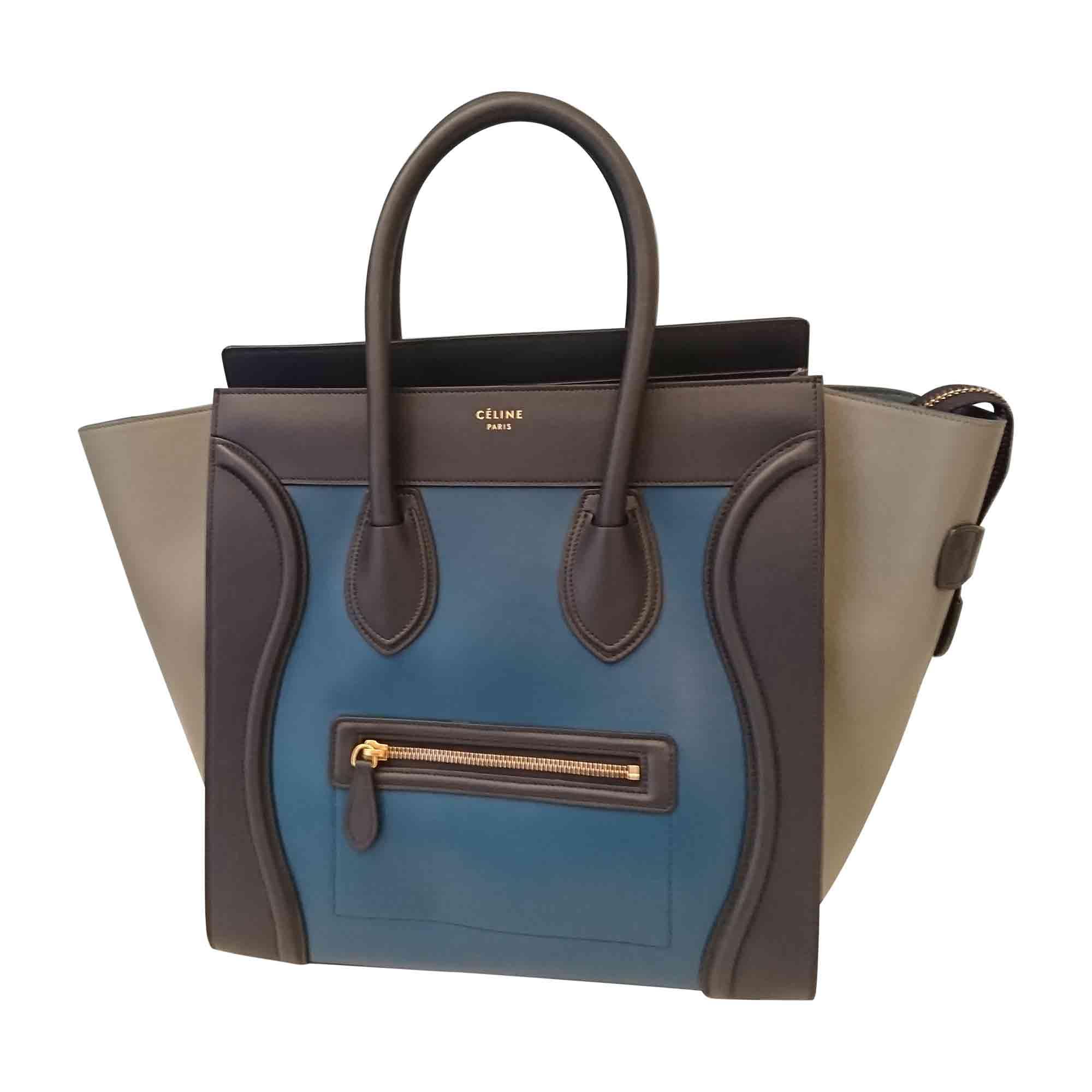 03a1ed40a7 À 5517248 Céline Bleu Main En Cuir Sac Luggage 0kOPX8wn