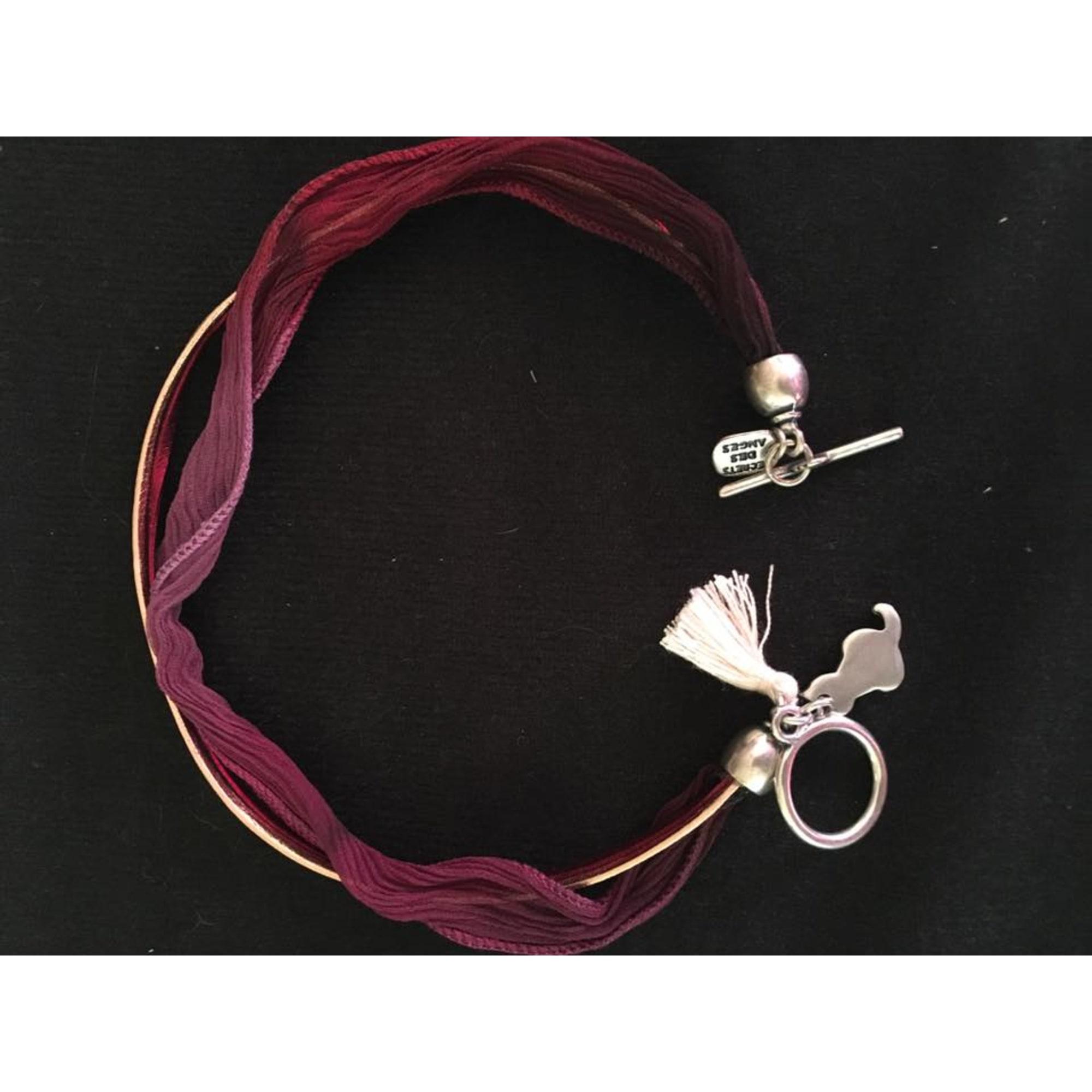 Bracelet SECRETS DES ANGES tissu et cuir rouge