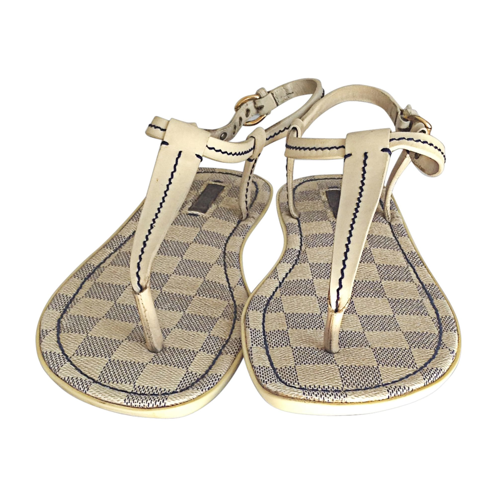 Flat Sandals LOUIS VUITTON White, off-white, ecru
