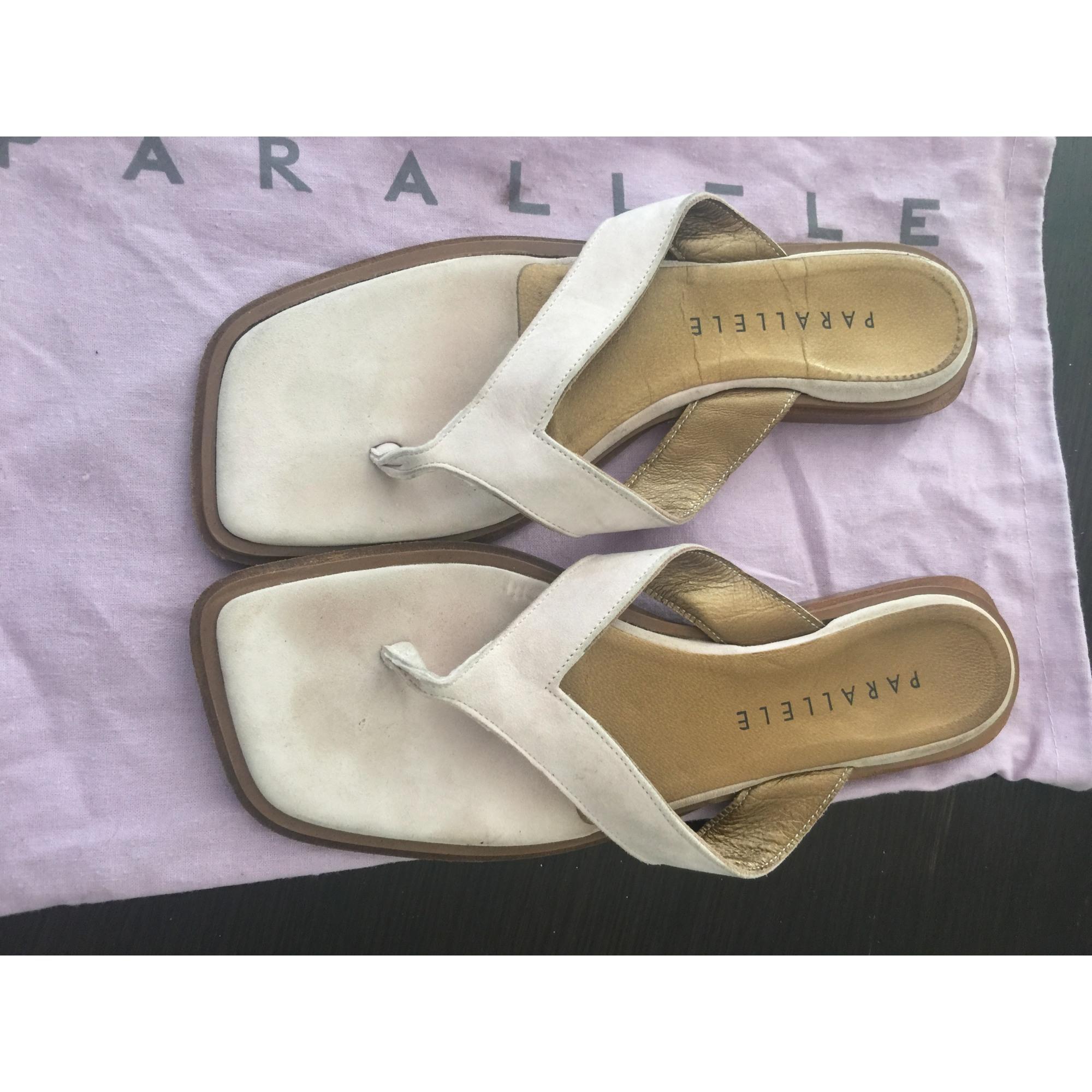 Sandales plates  PARALLÈLE Blanc, blanc cassé, écru