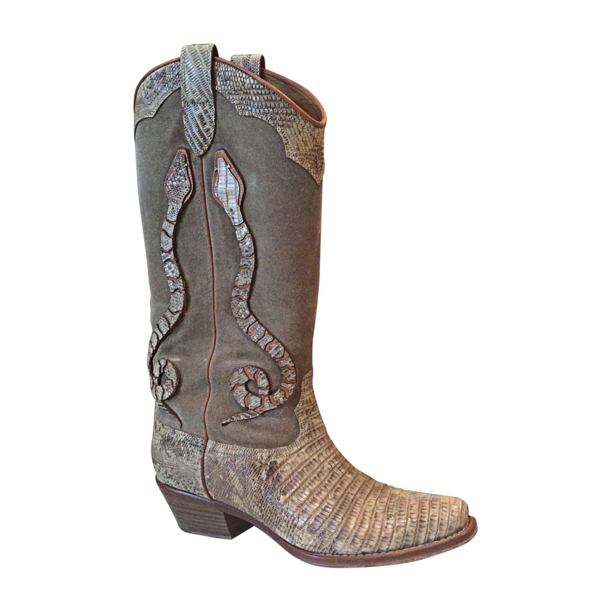 Santiags, bottes cowboy RALPH LAUREN Beige, camel