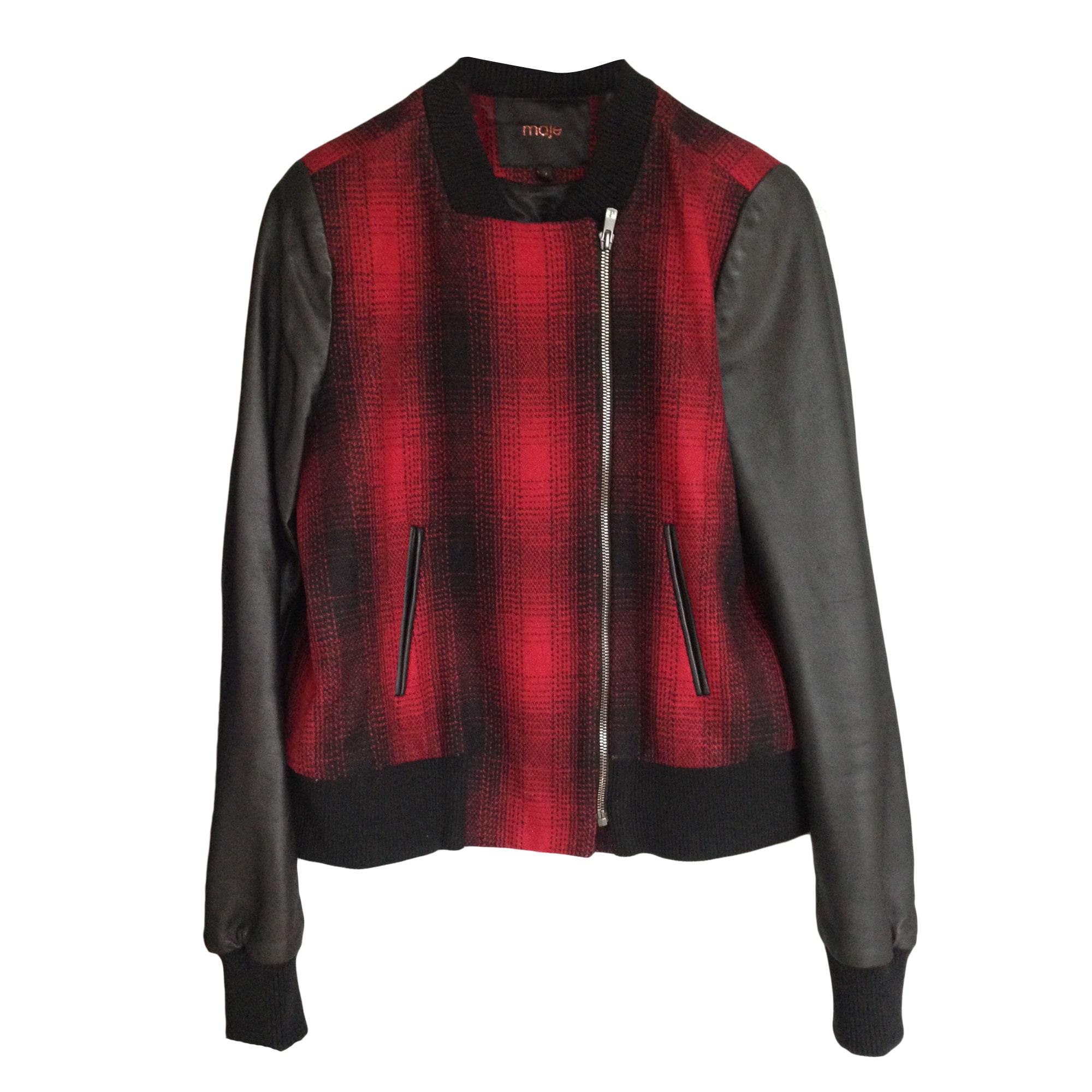 veste en cuir rouge maje