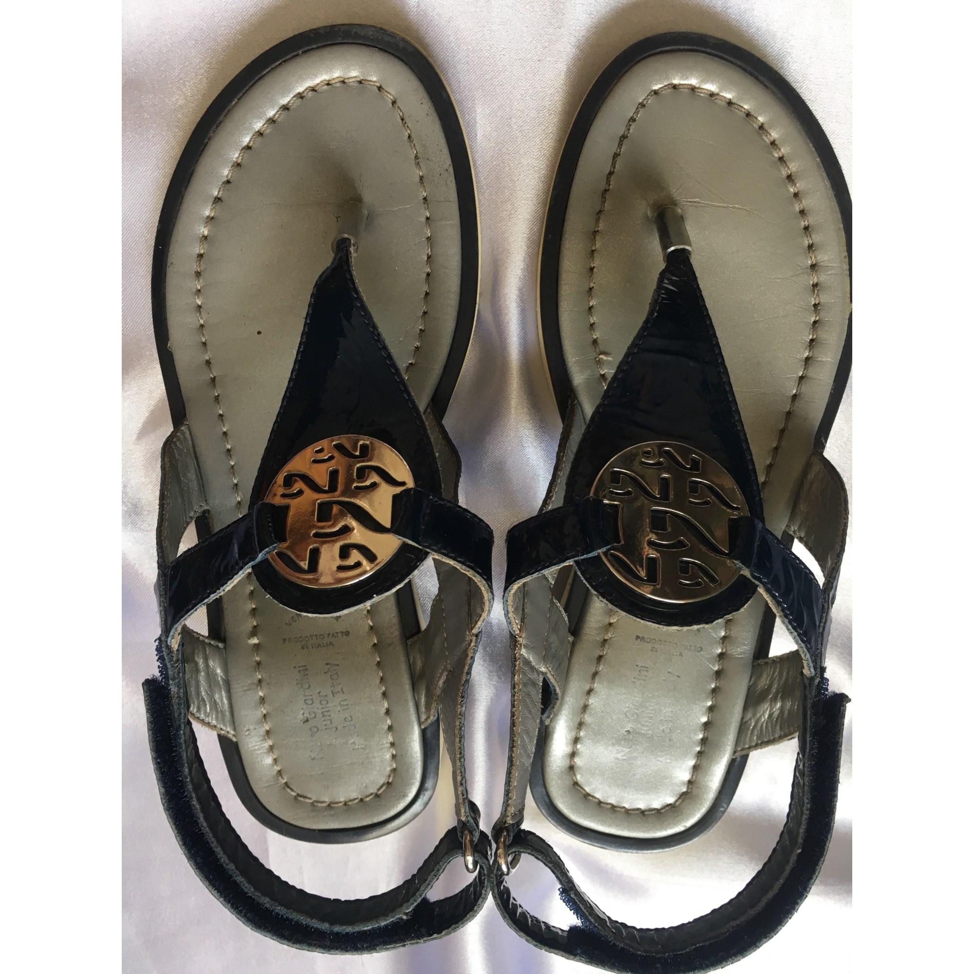 Sandales NERO GIARDINI cuir verni bleu 32