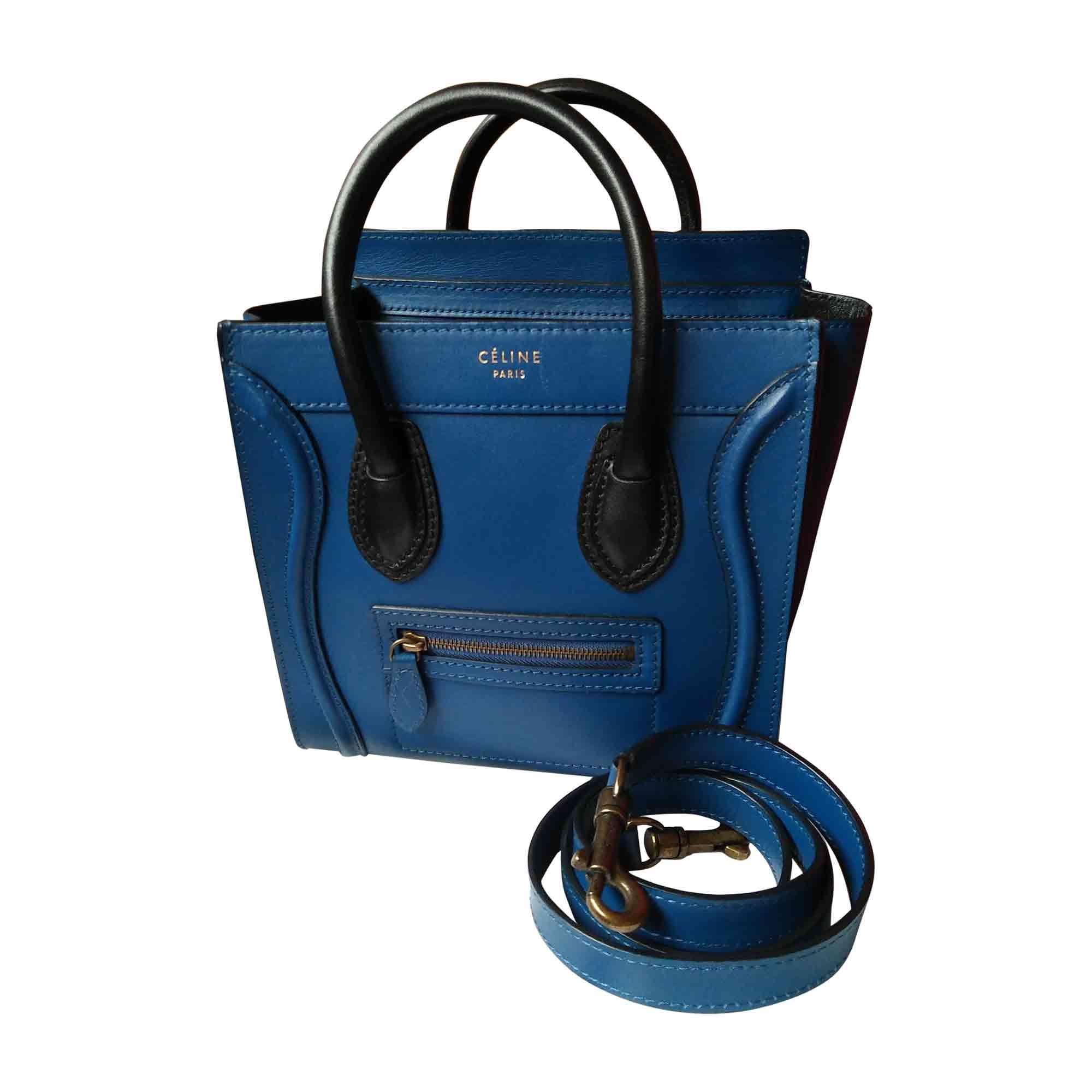 03ed93c990 Sac à main en cuir CÉLINE Luggage Bleu, bleu marine, bleu turquoise