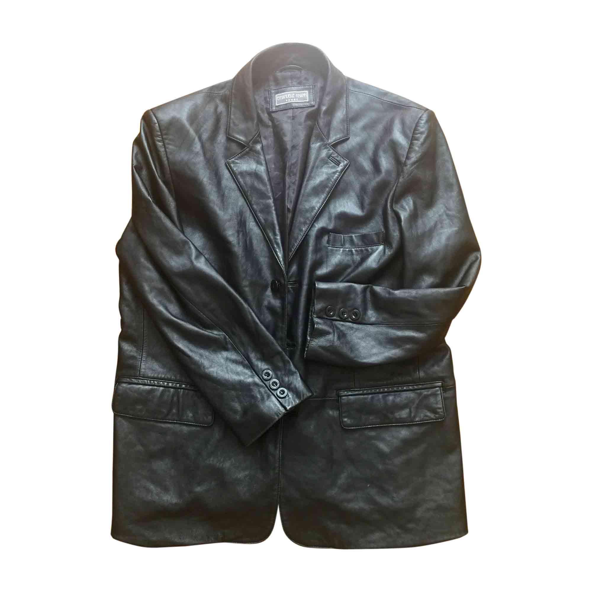 Blouson cuir noir Emmanuel KHAN