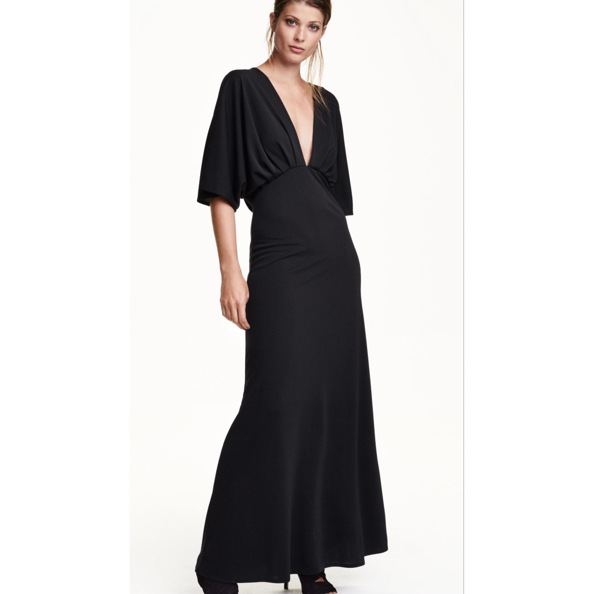 robe longue h m 34 xs t0 noir 6482828. Black Bedroom Furniture Sets. Home Design Ideas