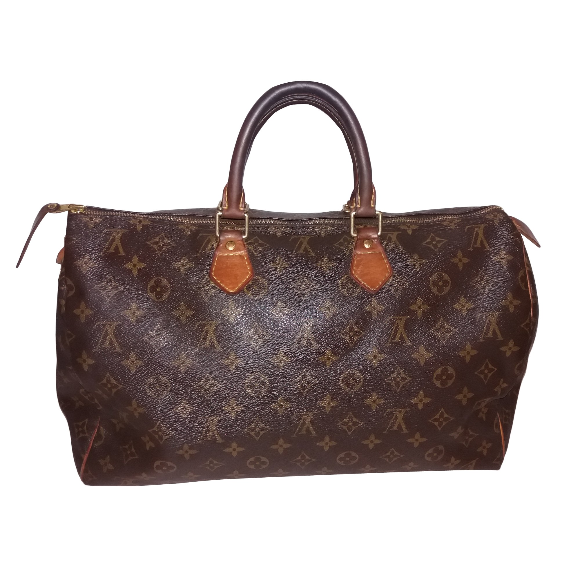 Leather Handbag LOUIS VUITTON Speedy Brown