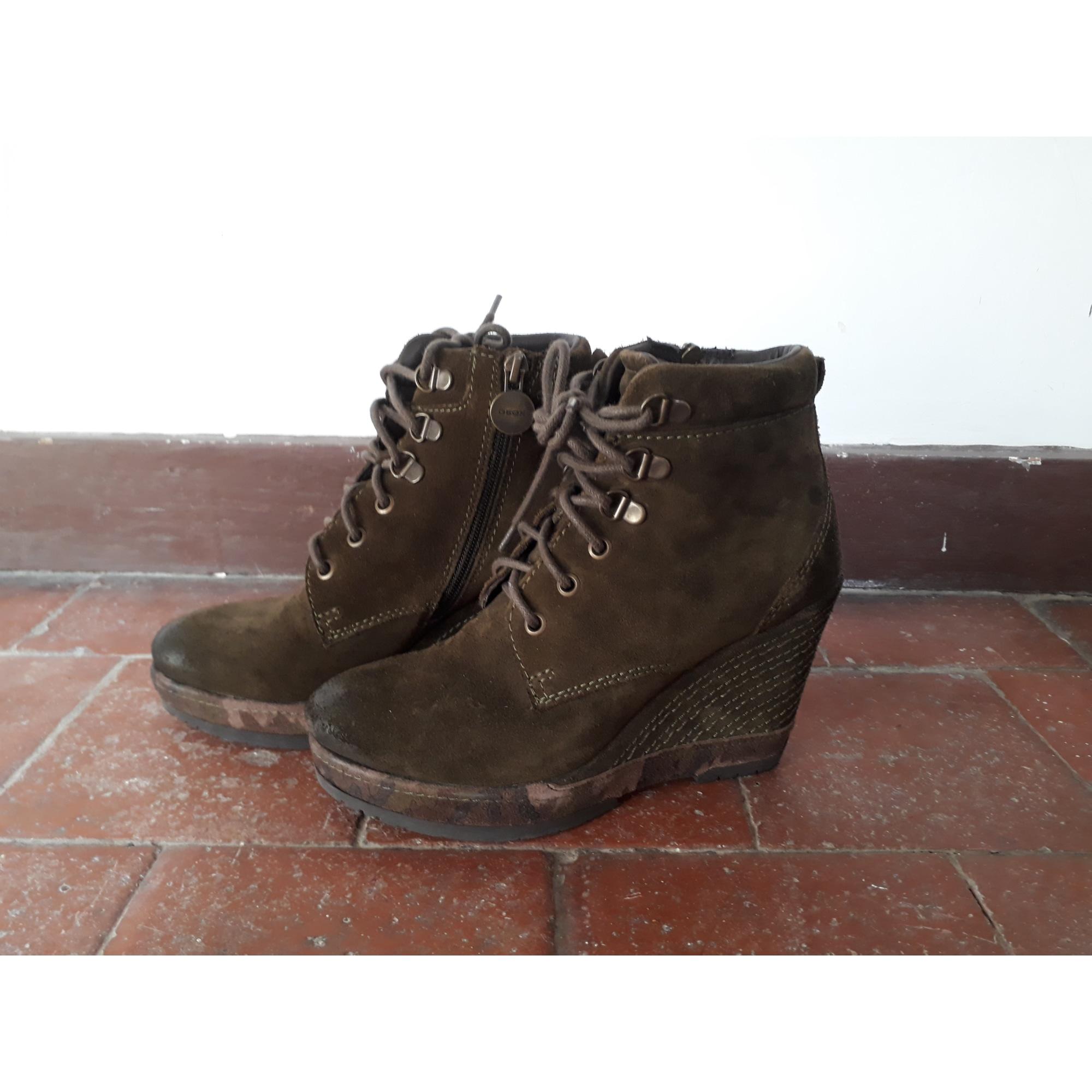 bf55d11740b59f Bottines & low boots à compensés GEOX 37 kaki - 6577142